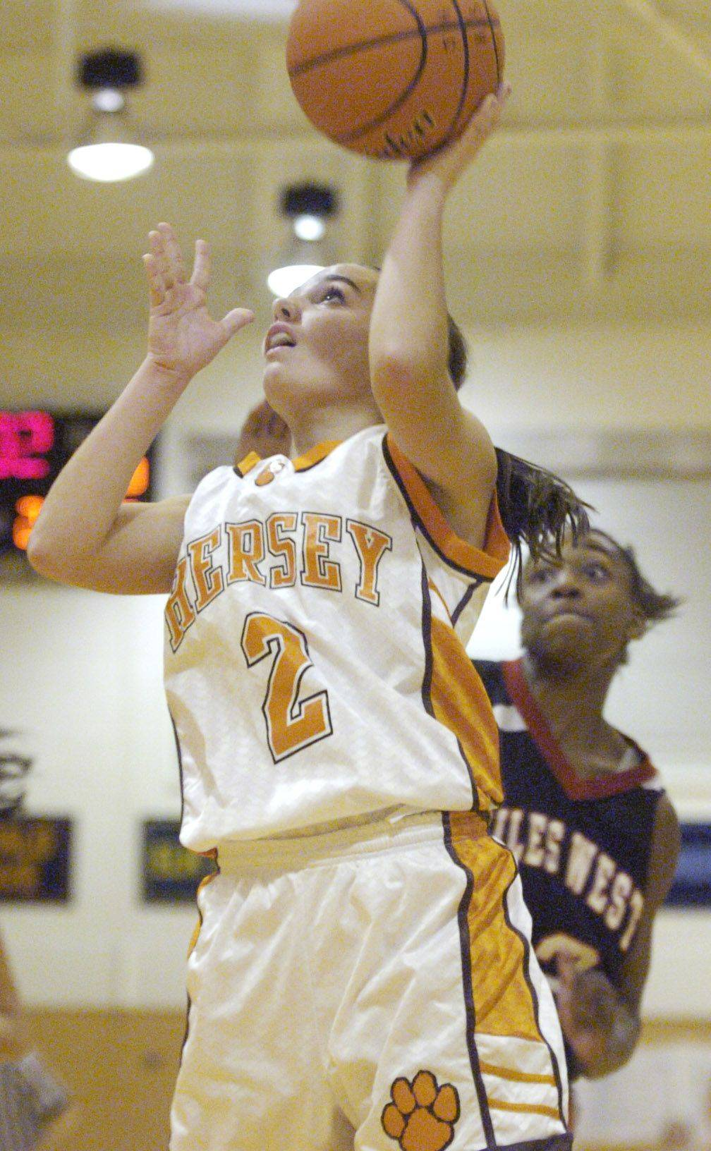 Hersey's Jen Hall drives for a layup against Niles West Tuesday.