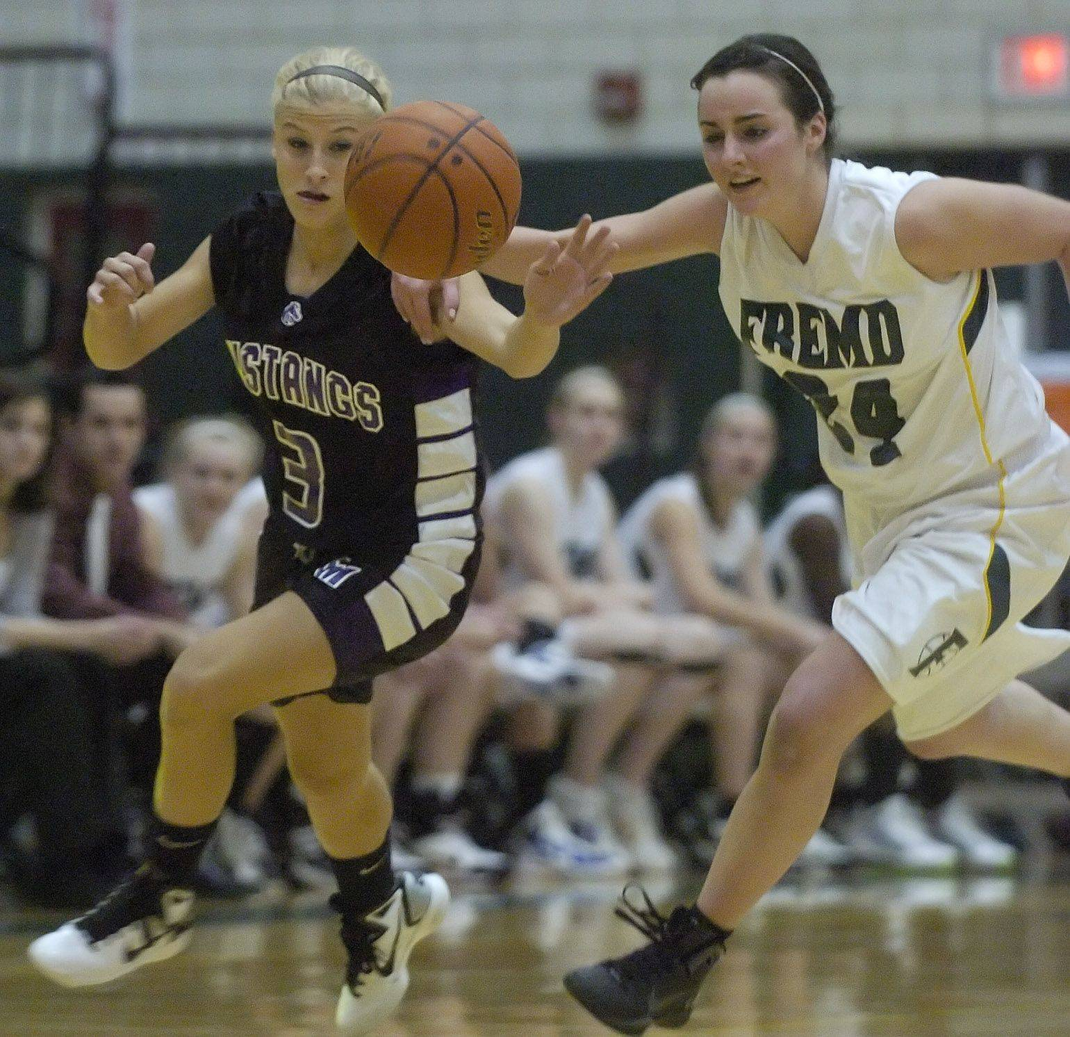 Jacqueline Kemph of Rolling Meadows, left, and Bridget Kubis of Fremd chase a loose ball.