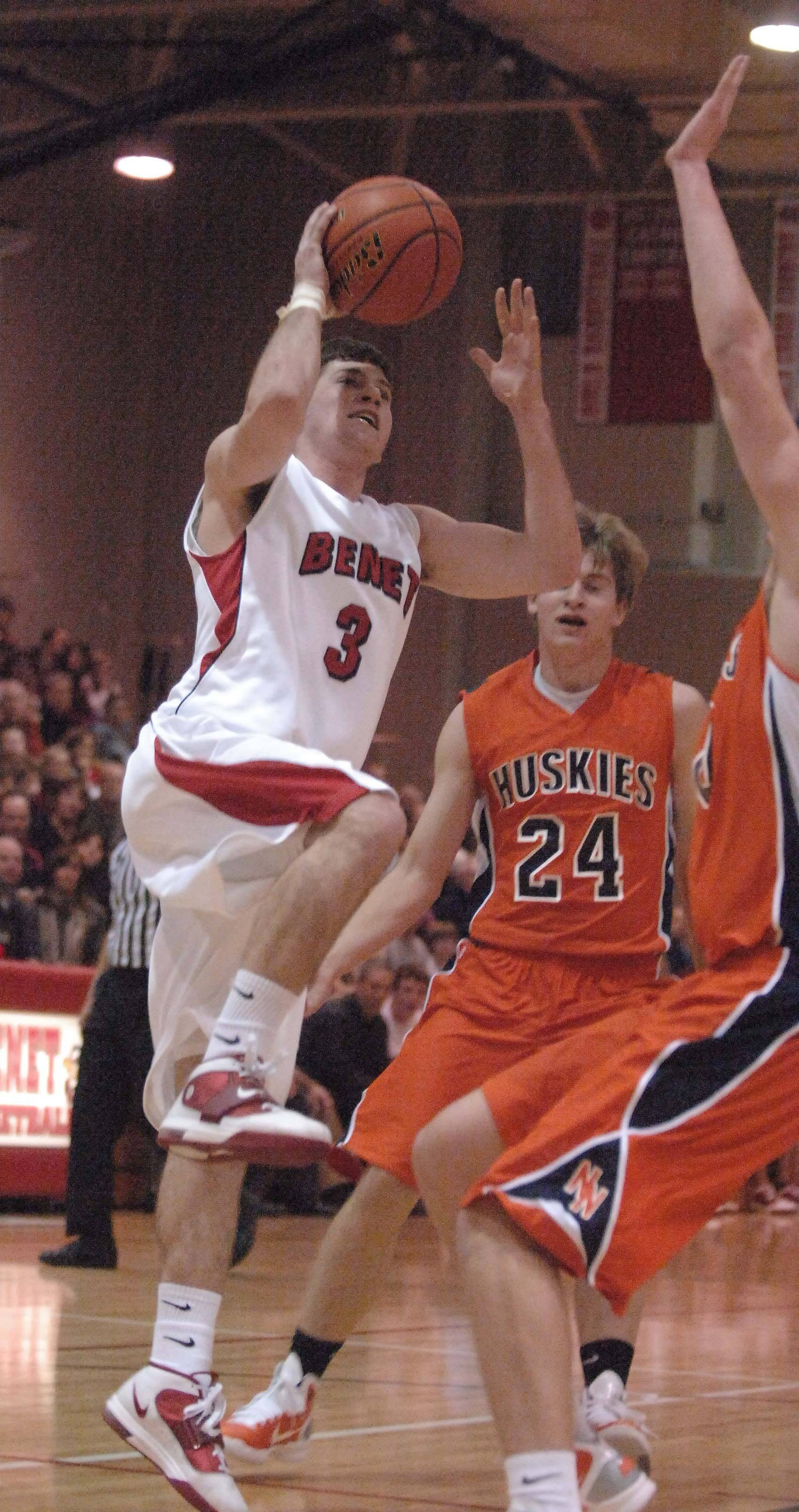 Dave Sobolewski of Benet goes up for a shot .