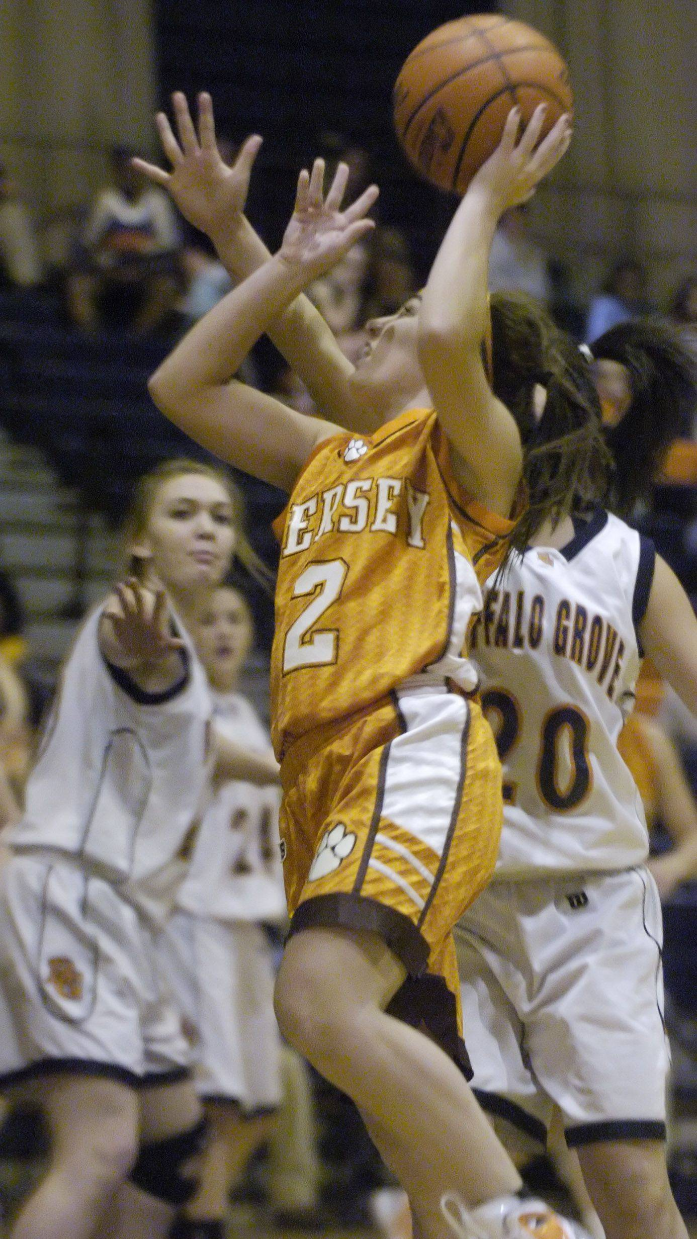 Hersey's Jen Hall puts up a shot against Buffalo Grove.