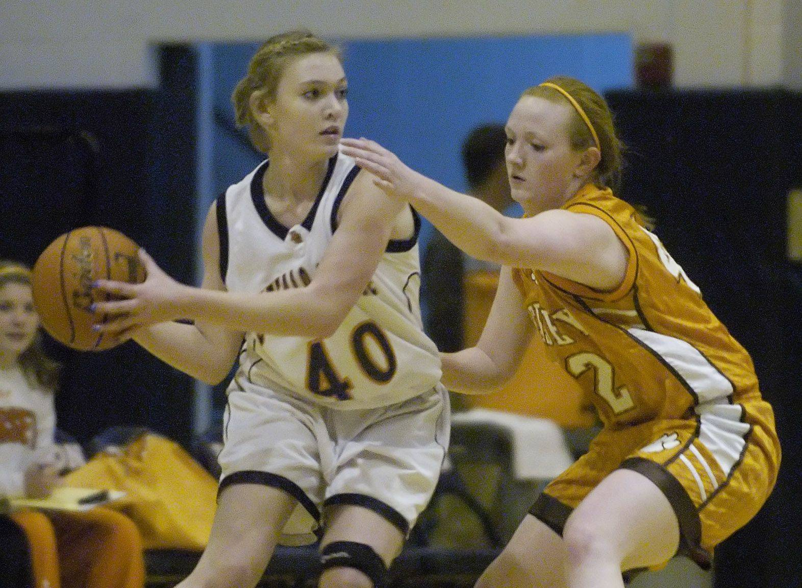 Buffalo Grove's Alanna Zawlocki, left, looks for an open teammate while being guarded by Hersey's Maggie Hogan.