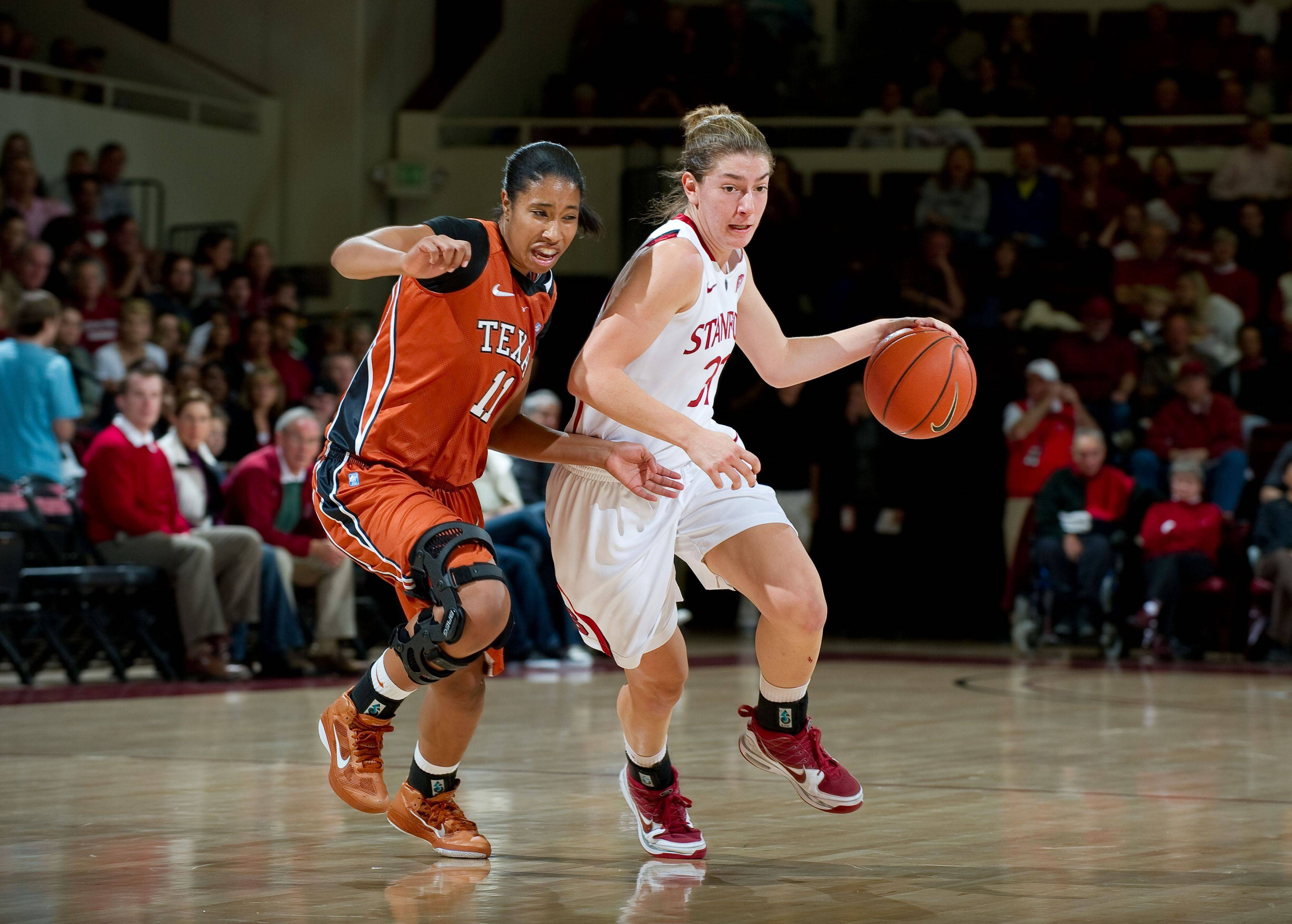 Hinsdale Central grad Toni Kokenis, right, helped Stanford to a 93-78 win over Texas earlier this season.