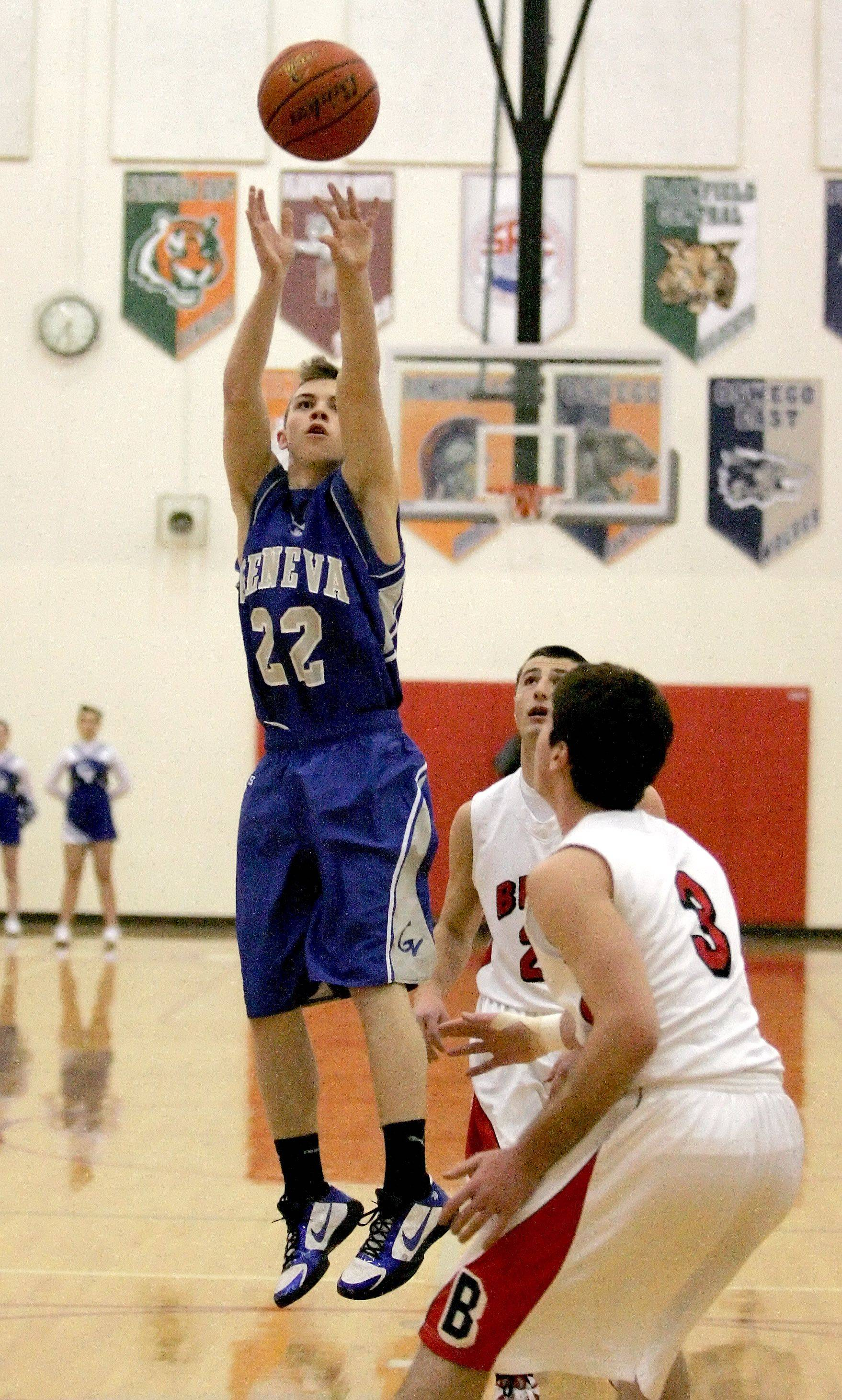 Ryan Willing of Geneva goes up for a shot in action against Benet during boys basketball at the Plainfield North Hoiday Tournament on Friday.
