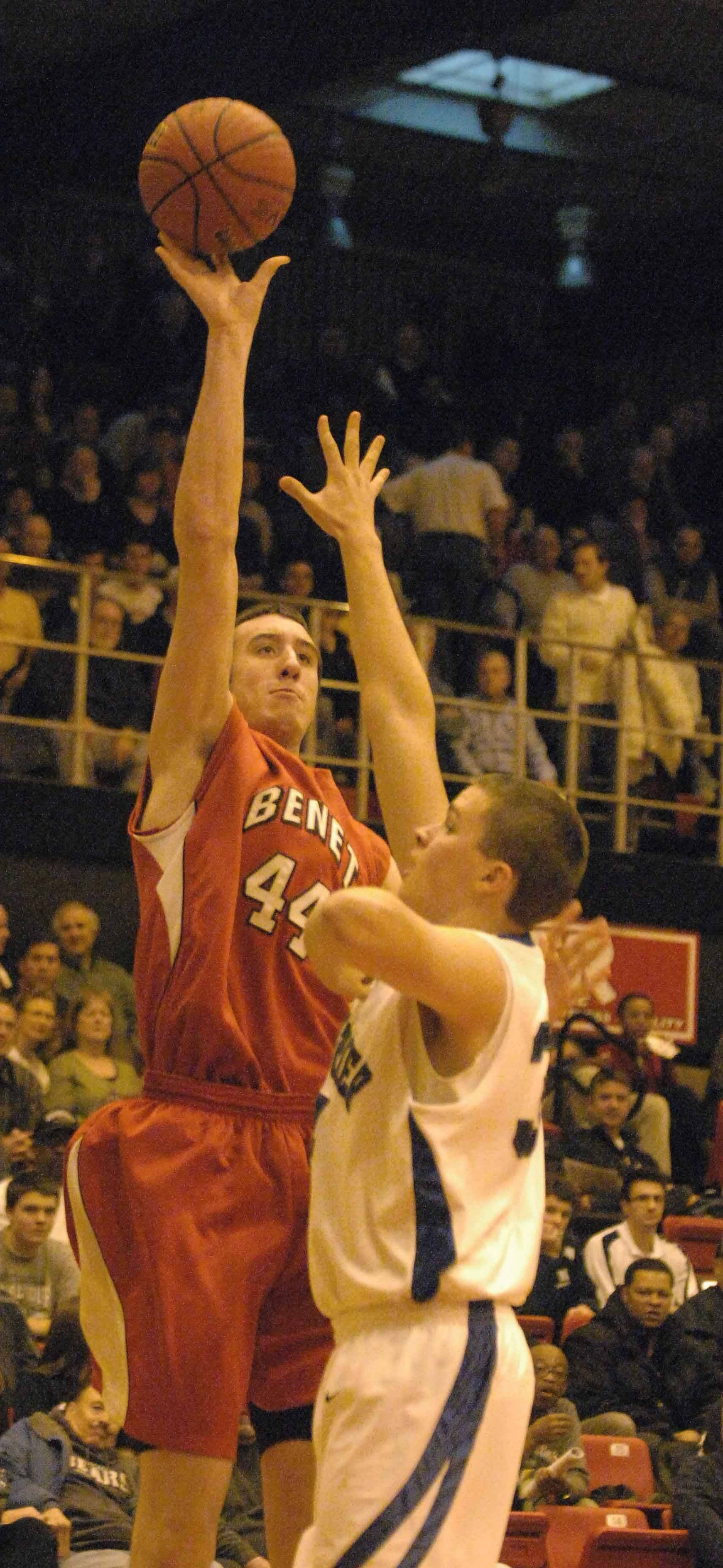 Frank Kaminsky of Benet takes a shot during the Benet vs. New Trier boys game at Proviso West Tuesday.