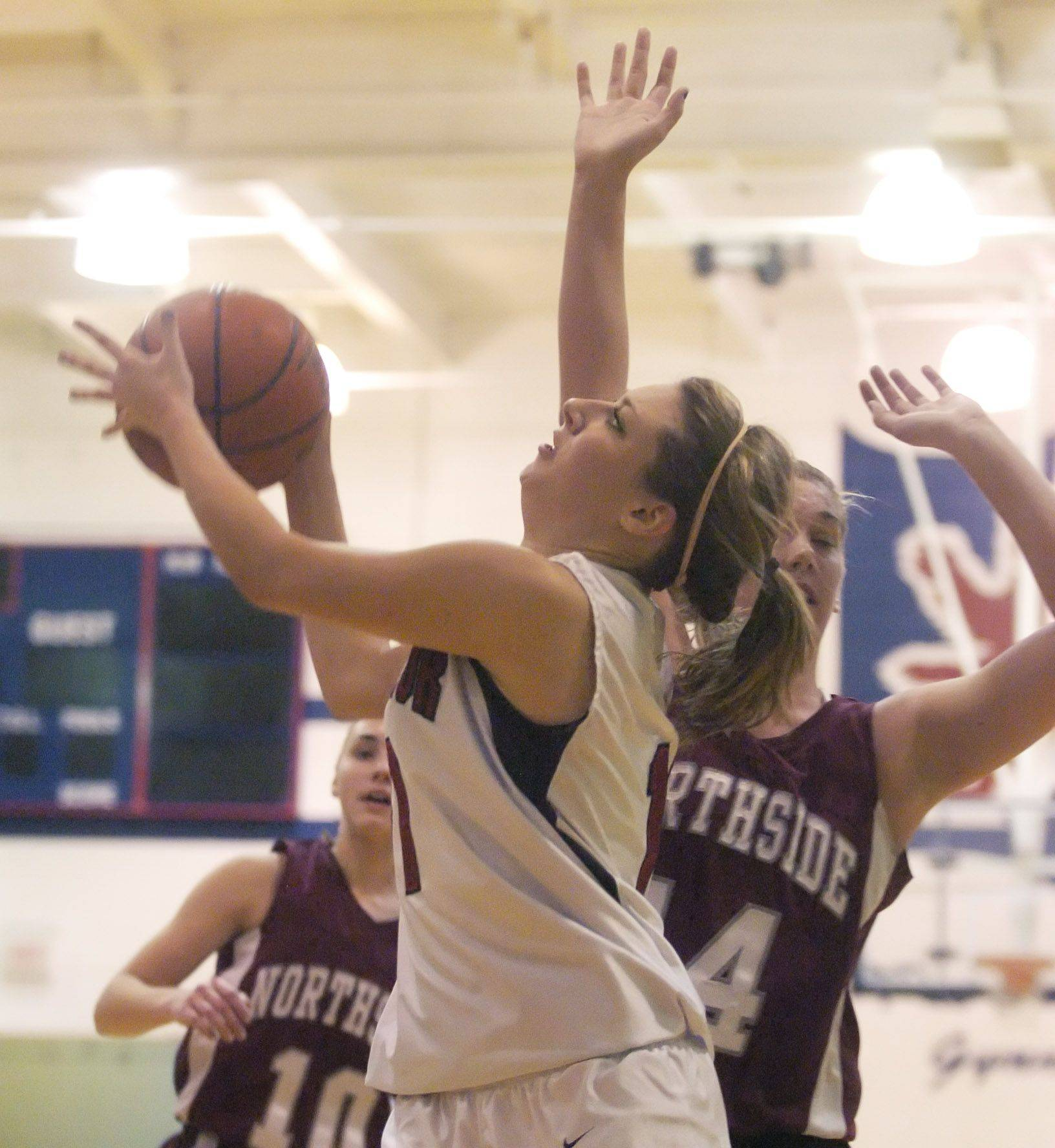 St. Viator's Julia Frank drives for a layup against Northside Prep Tuesday.