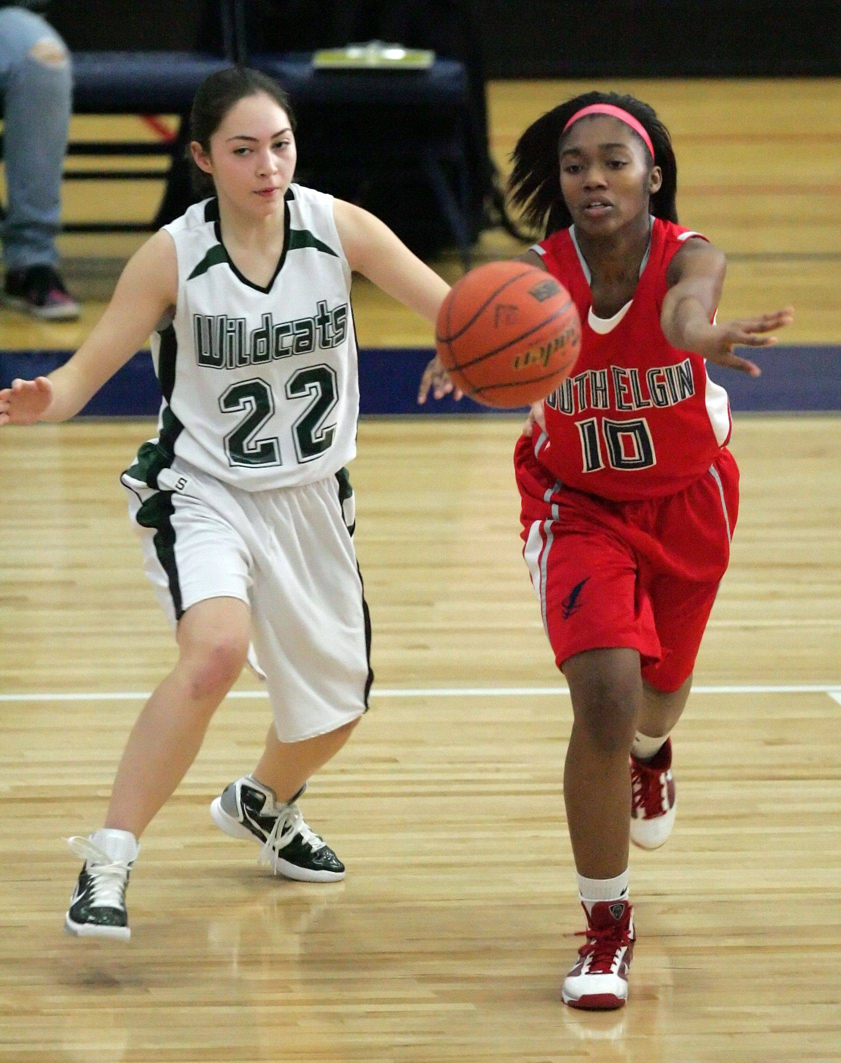 South Elgin's Andriella Patterson lets go of a pass against Plainfield Central Tuesday at the Oswego East tournament.