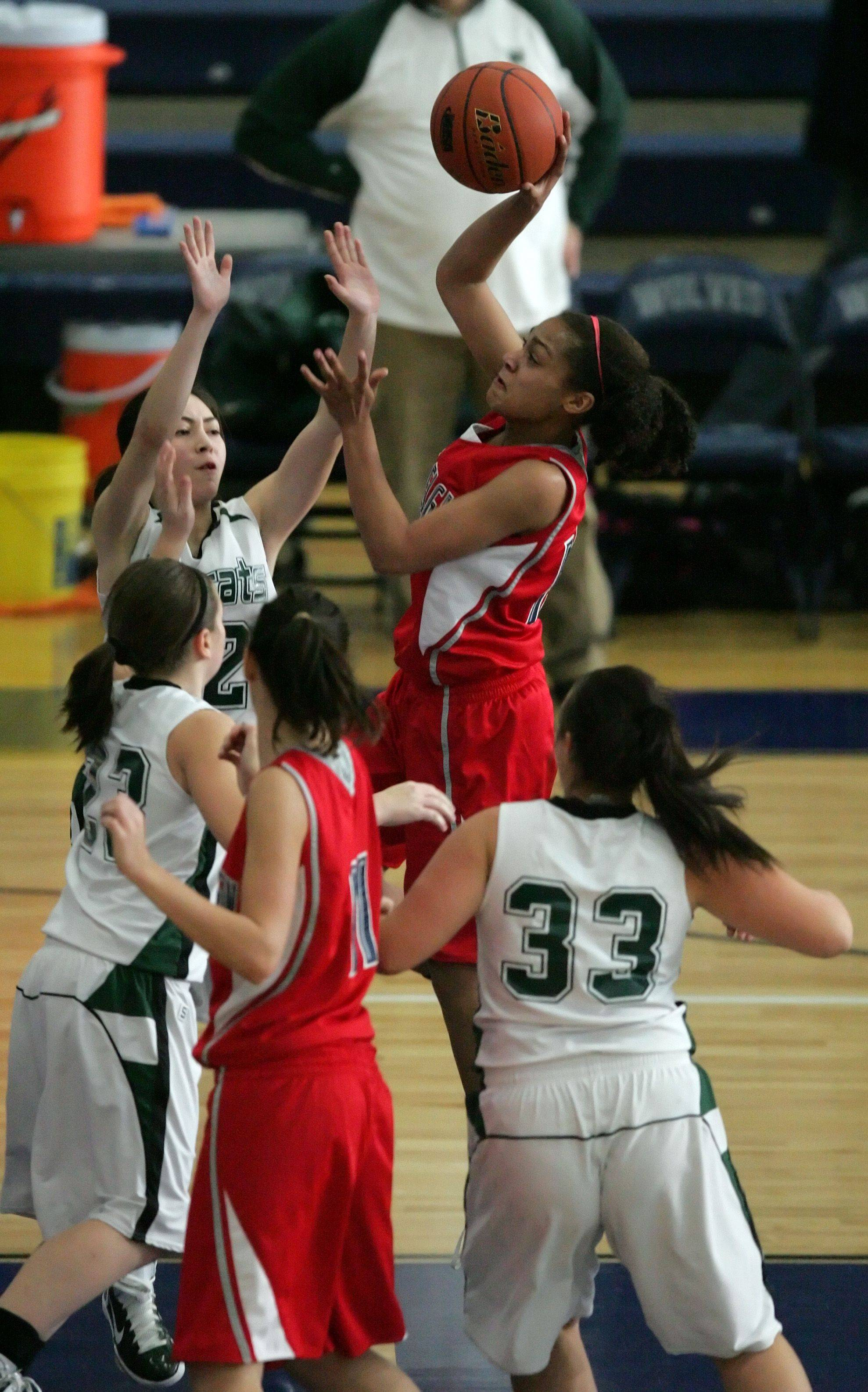 South Elgin guard, Becca Smith, 15, goes to the hoop during South Elgin vs Plainfield Central girls basketball at the Wolves Winter Classic Basketball Tournament Tuesday, December 28, 2010 in Oswego.