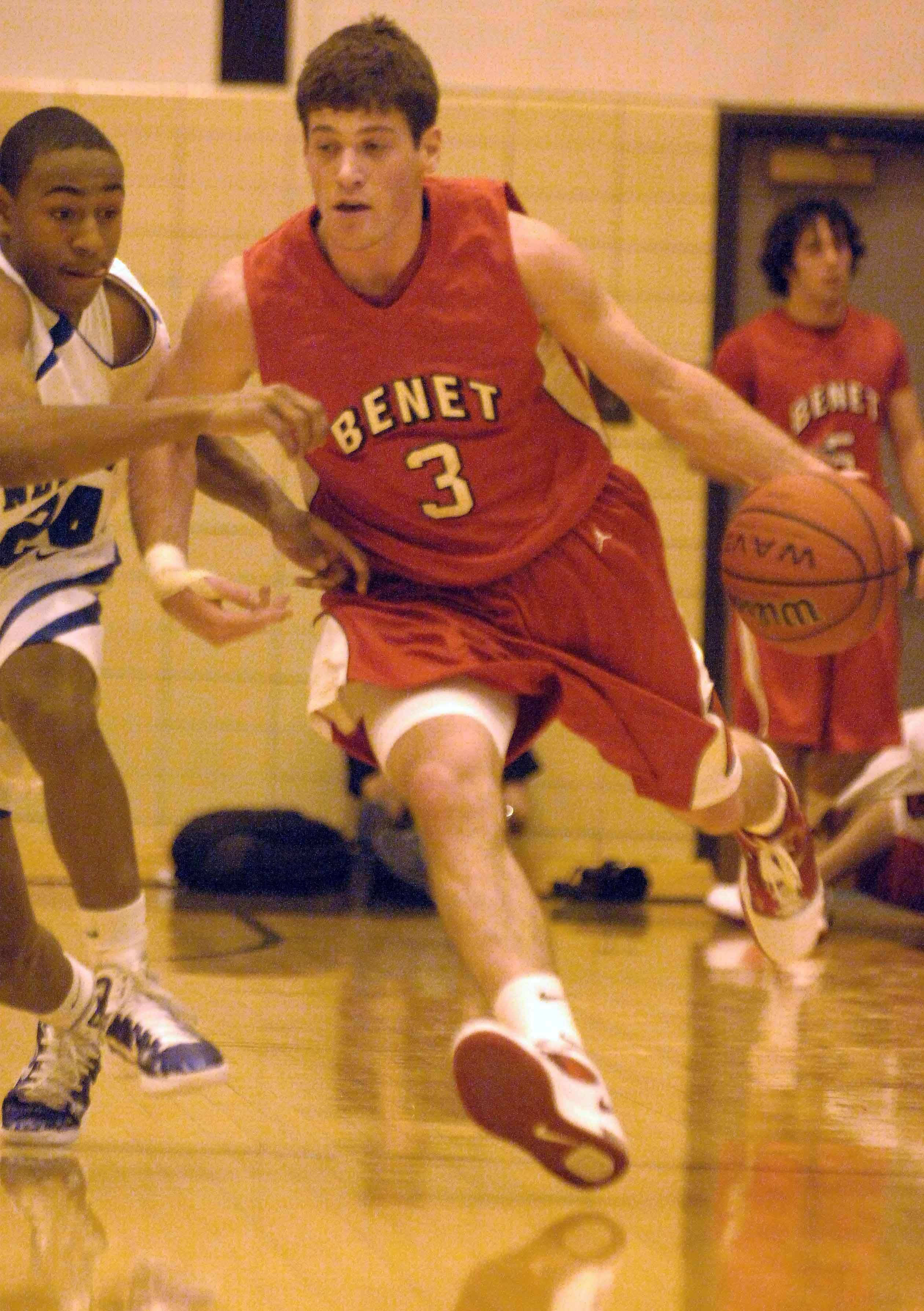 Dave Sobolewski of Benet moves the ball during the Benet vs. New Trier boys game at Proviso West Tuesday.