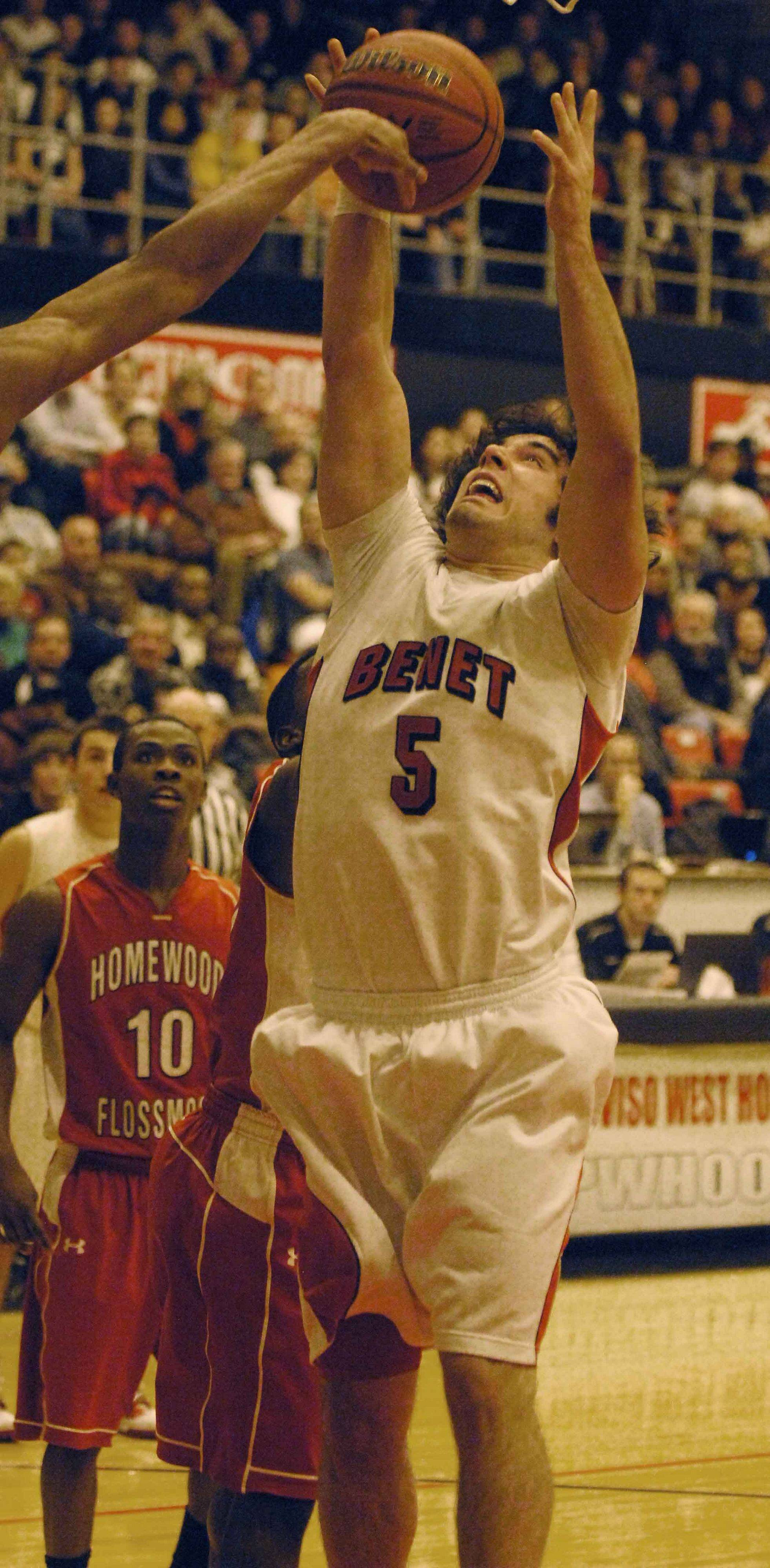 Pat Boyle of Benet goes for a rebound during the Benet vs. Homewood-Flossmoor game at Proviso West High School in Hillside Thursday.