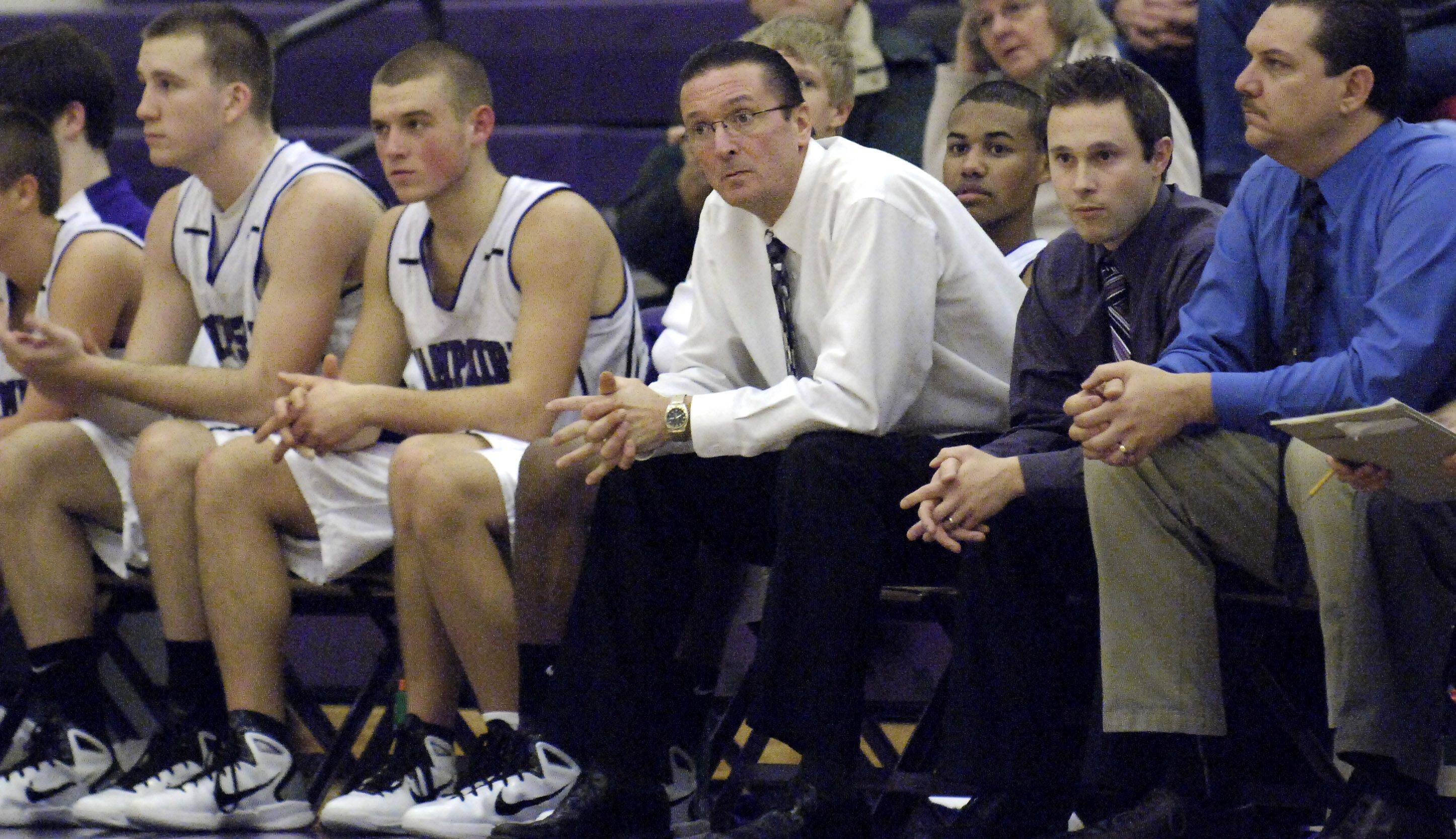 Hampshire head coach Bob Barnett eyes his team from the sidelines on Saturday, January 8.