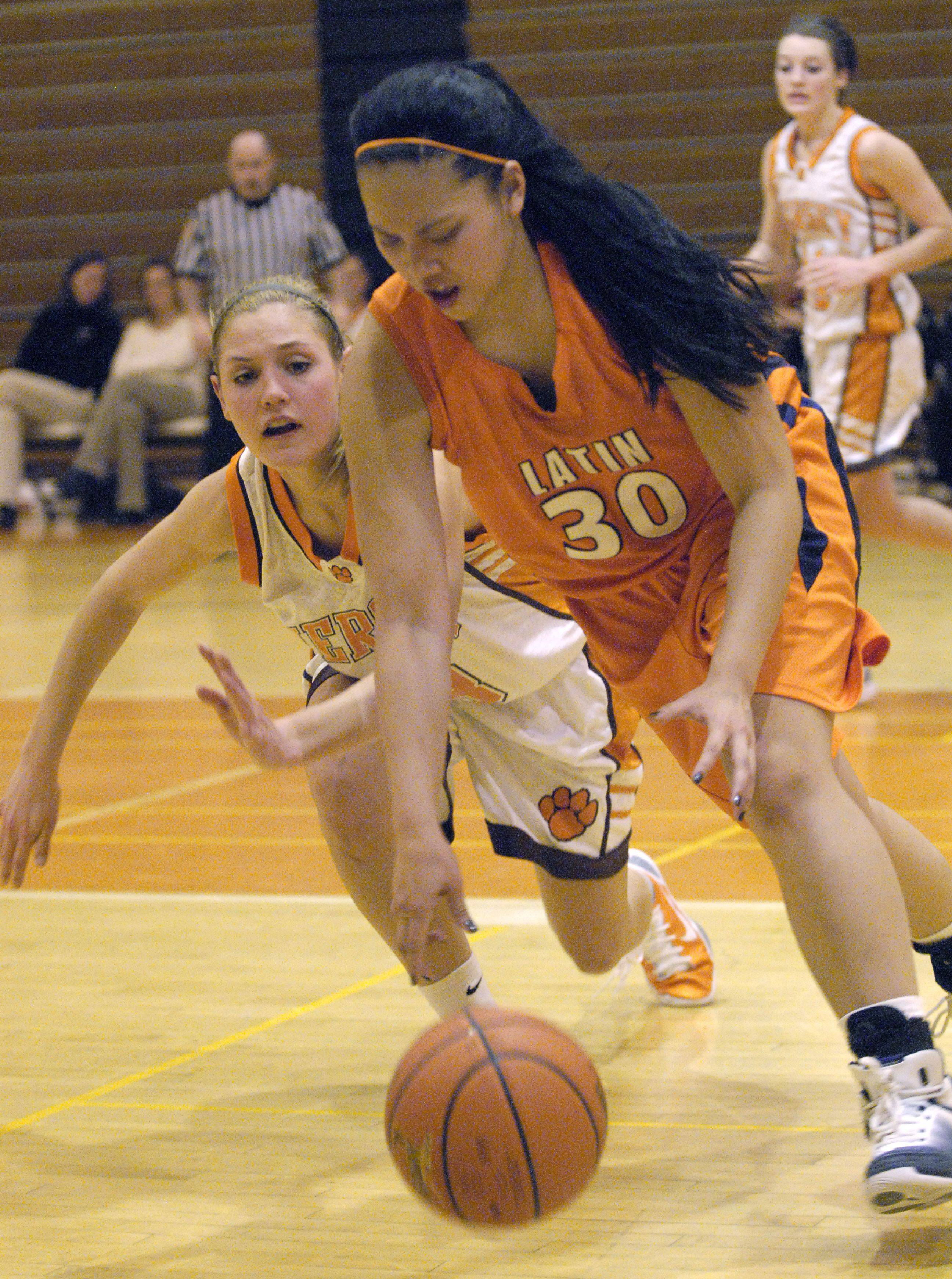 Images from the Chicago Latin vs Hersey girls basketball game in Arlington Heights on Monday, January 10th.