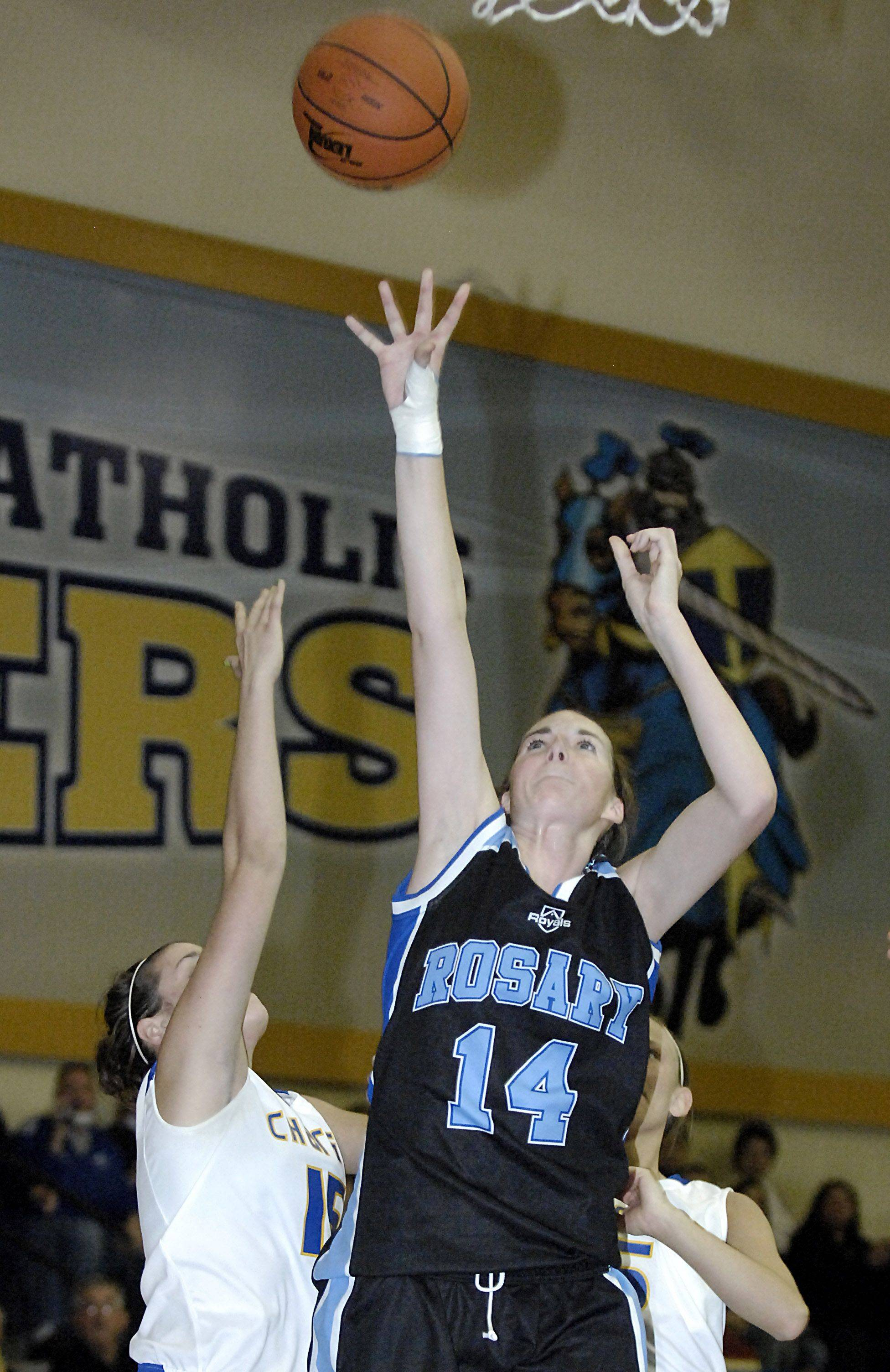 Rosary's Brittney Hutchinson takes a shot in the second quarter.