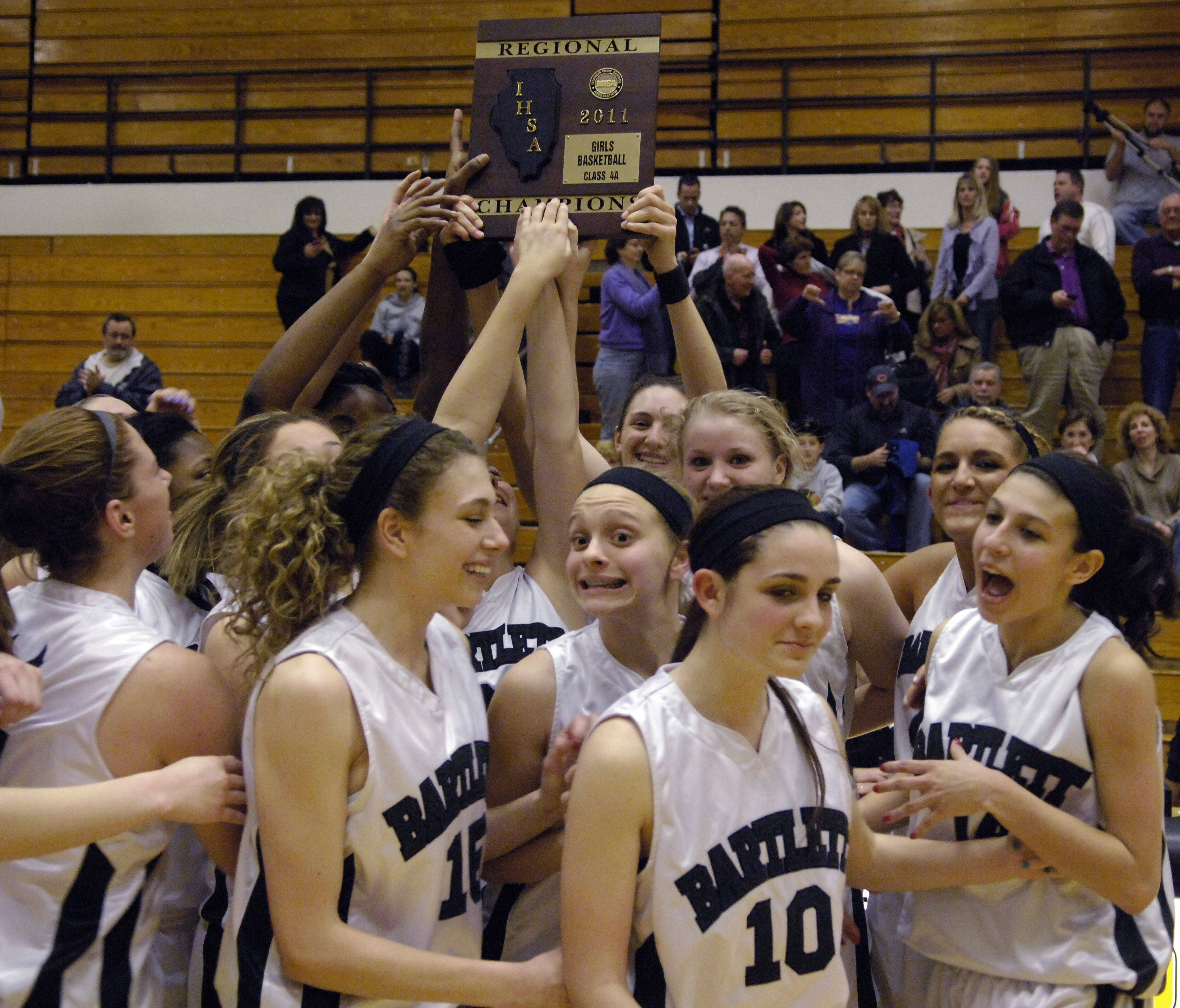 The Bartlett girls basketball team hopes it has at least one more piece of hardware to hoist this season. The 28-1 Hawks play Trinity Tuesday at the Class 4A York sectional.