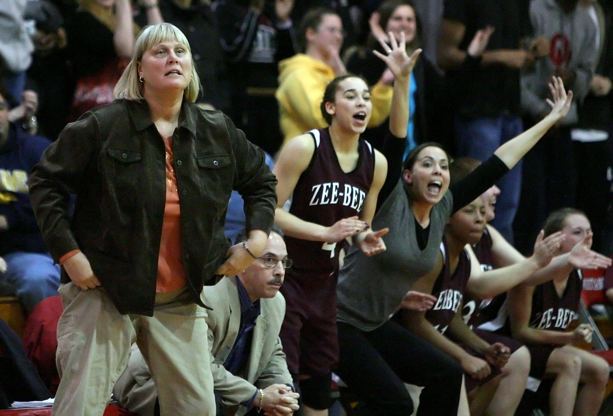 Players on the Zion-Benton bench react during their win over Libertyville.