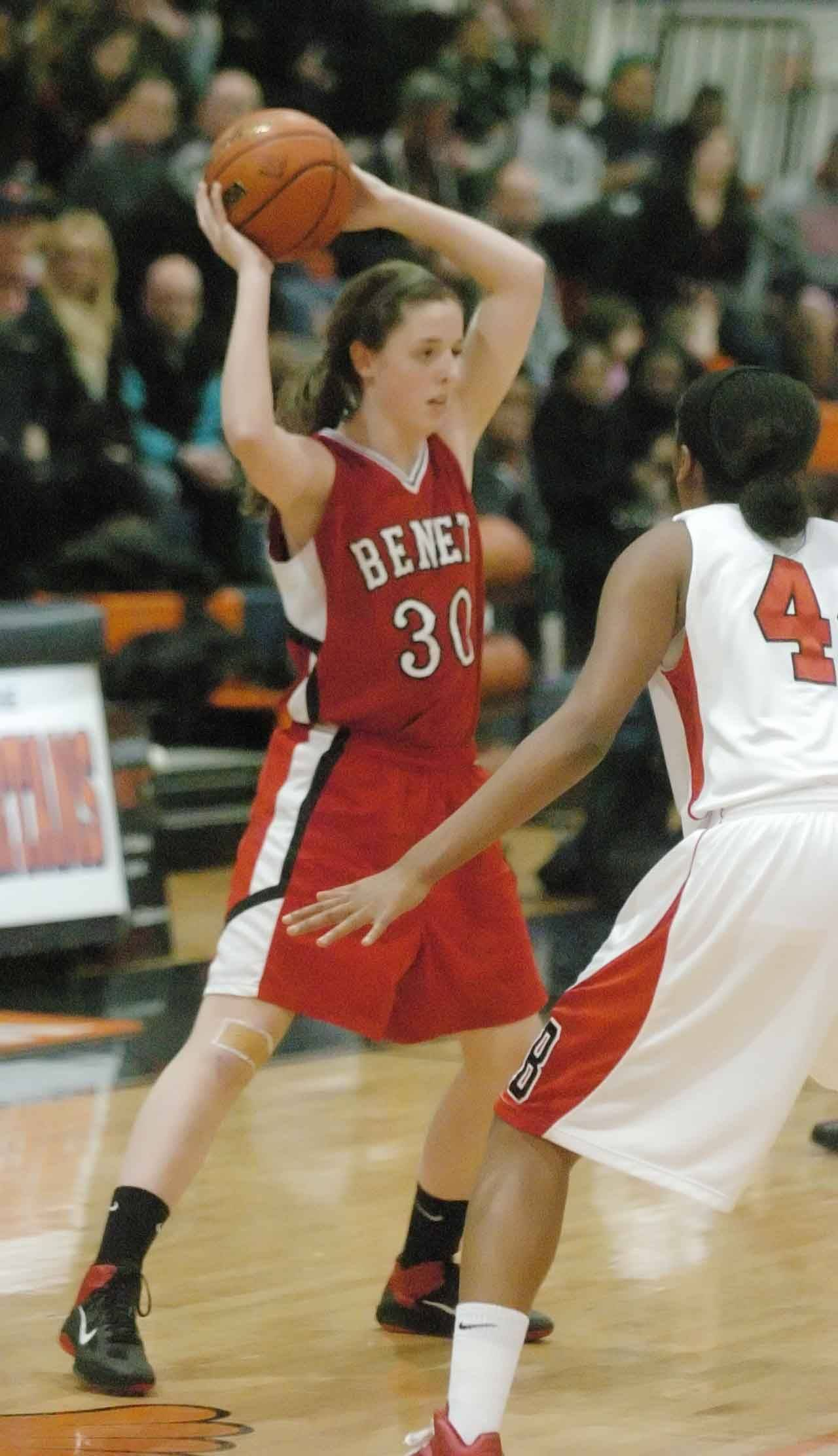 Ashley Veselik of Benet Academy looks for an open teammate against Bolingbrook.