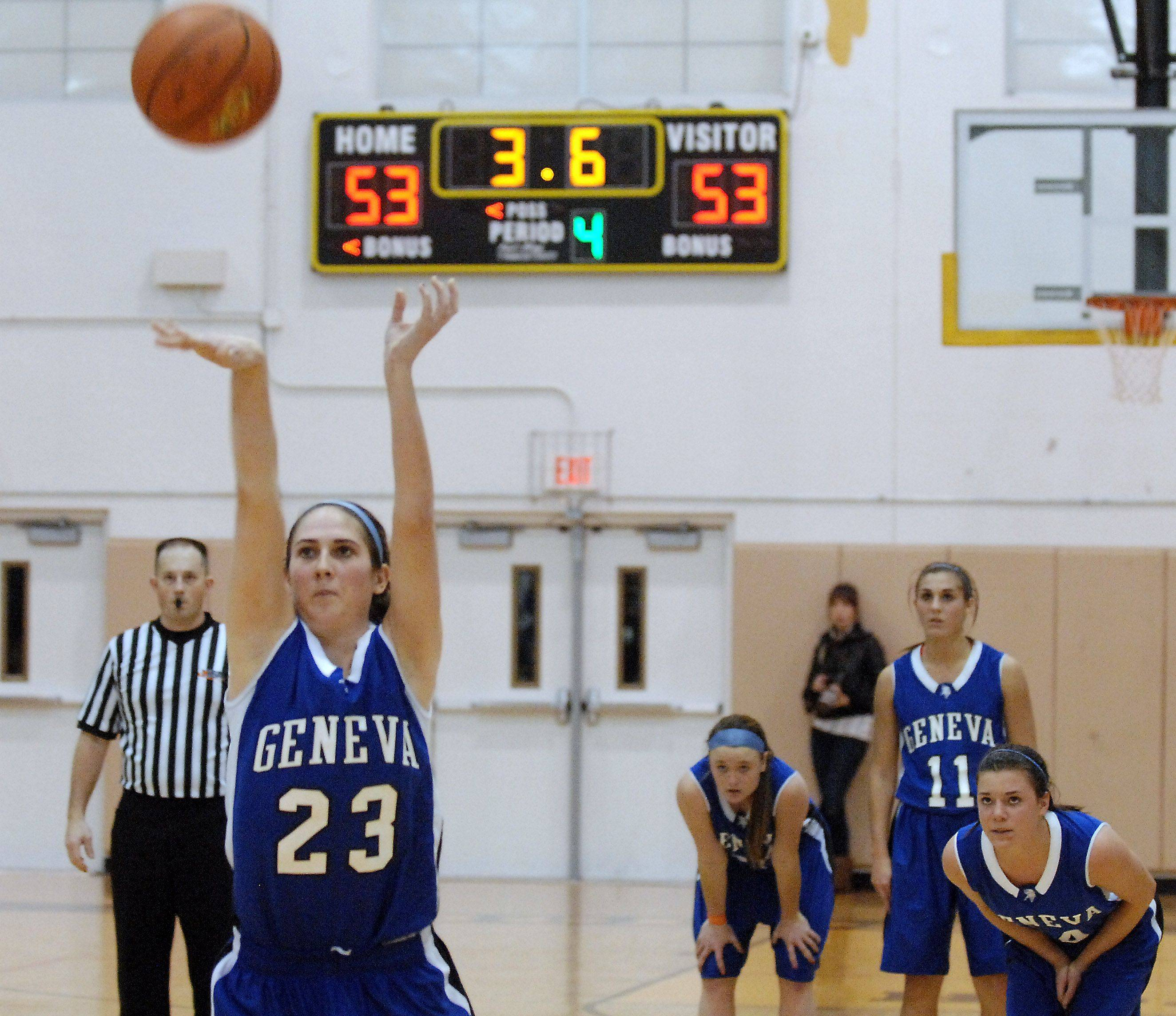 Geneva's Katelyn Allen sinks the deciding free throw with 3.6 seconds left to lift the Vikings over Cary-Grove .