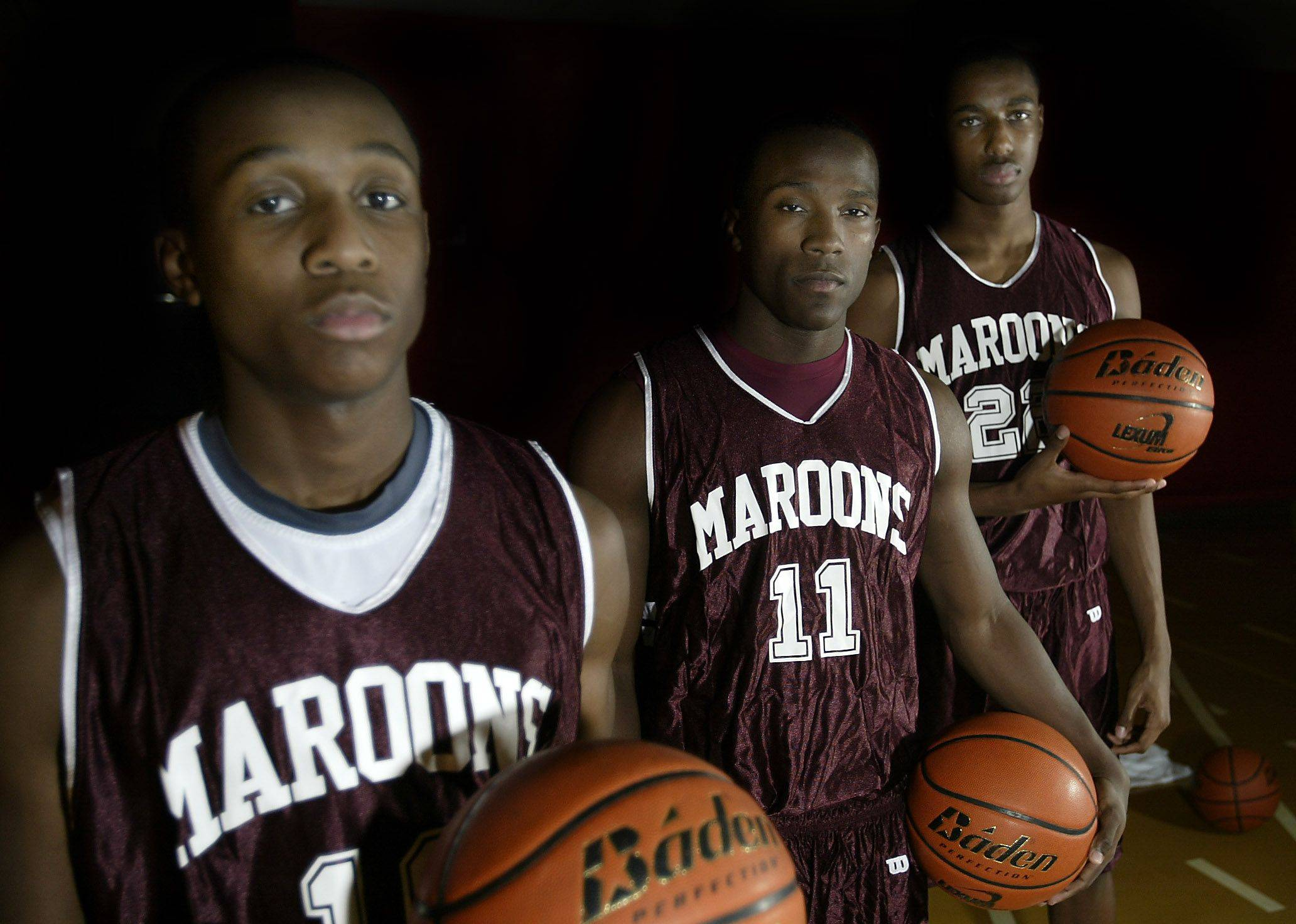 Arie Williams (10), Dennis Moore (11), and Kory Brown (22), will lead Elgin into the boys basketball season.