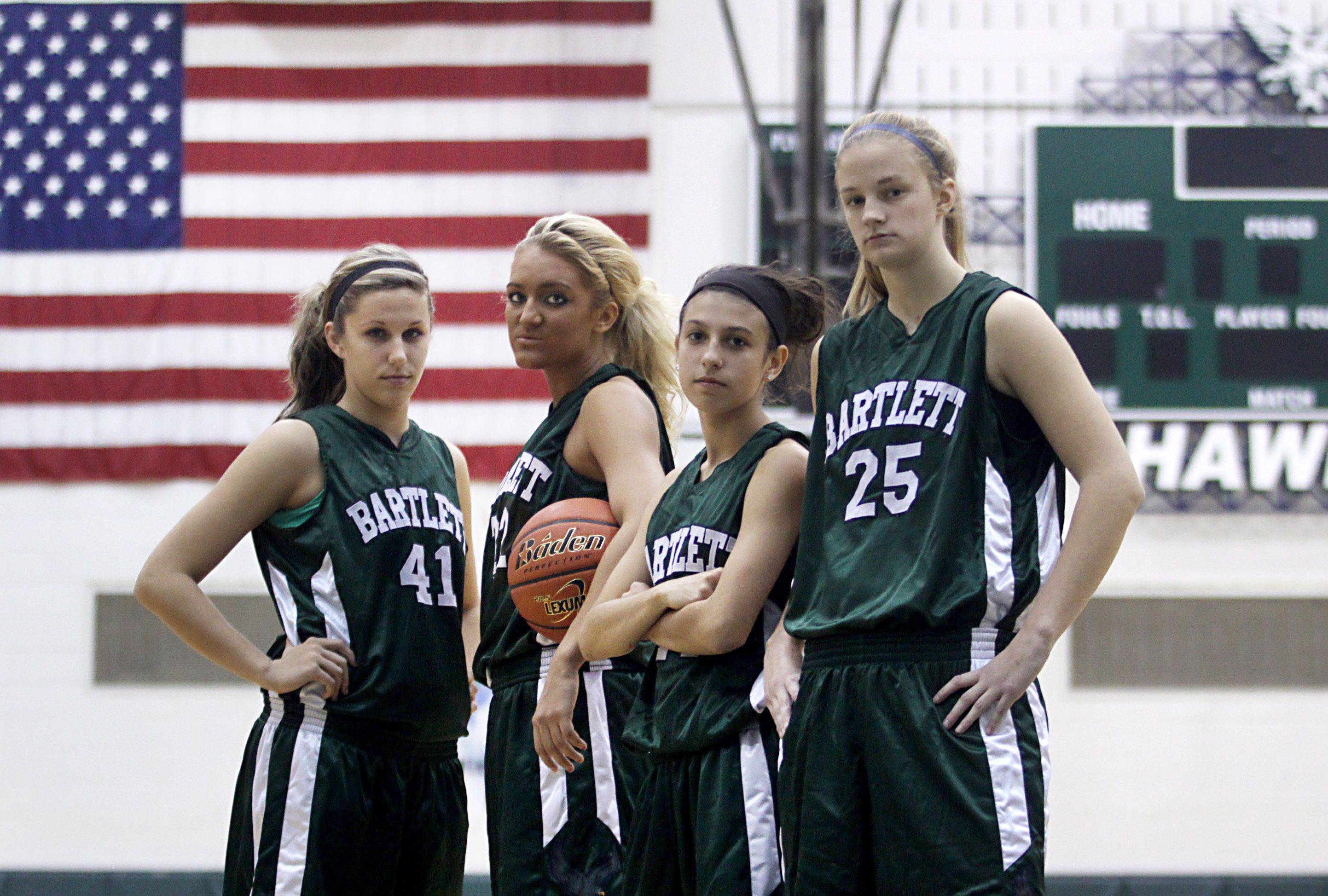 Leading the Hawks of Bartlett for the 2011-2012 season are, from left, Lisa Palmer, Haley Videckis, Janessa Baker, and Kristin Conniff.