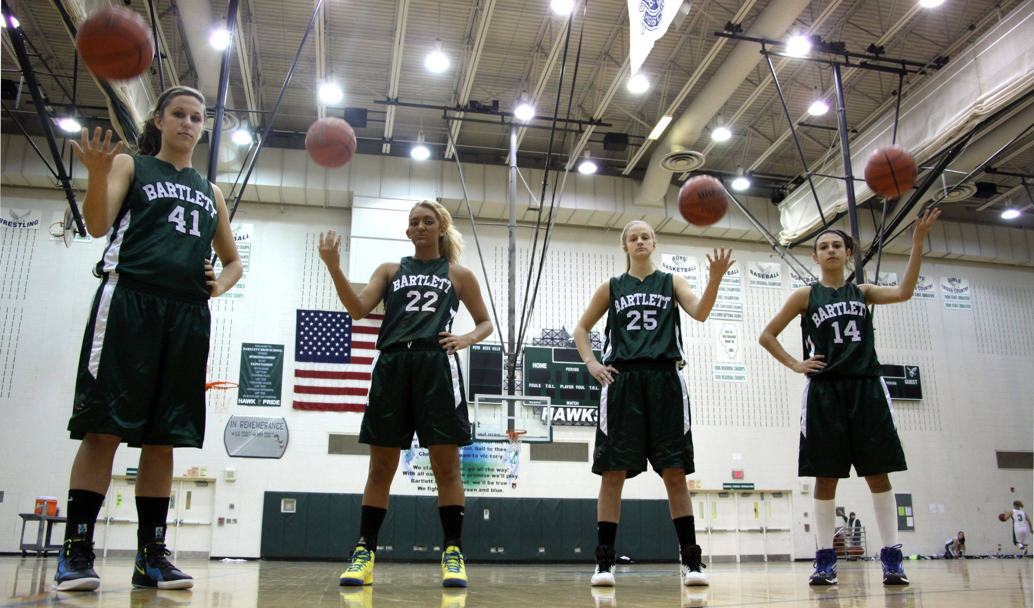 Leading the Hawks of Bartlett for the 2011-2012 season are, from left, Lisa Palmer, Haley Videckis, Kristin Conniff, and Janessa Baker