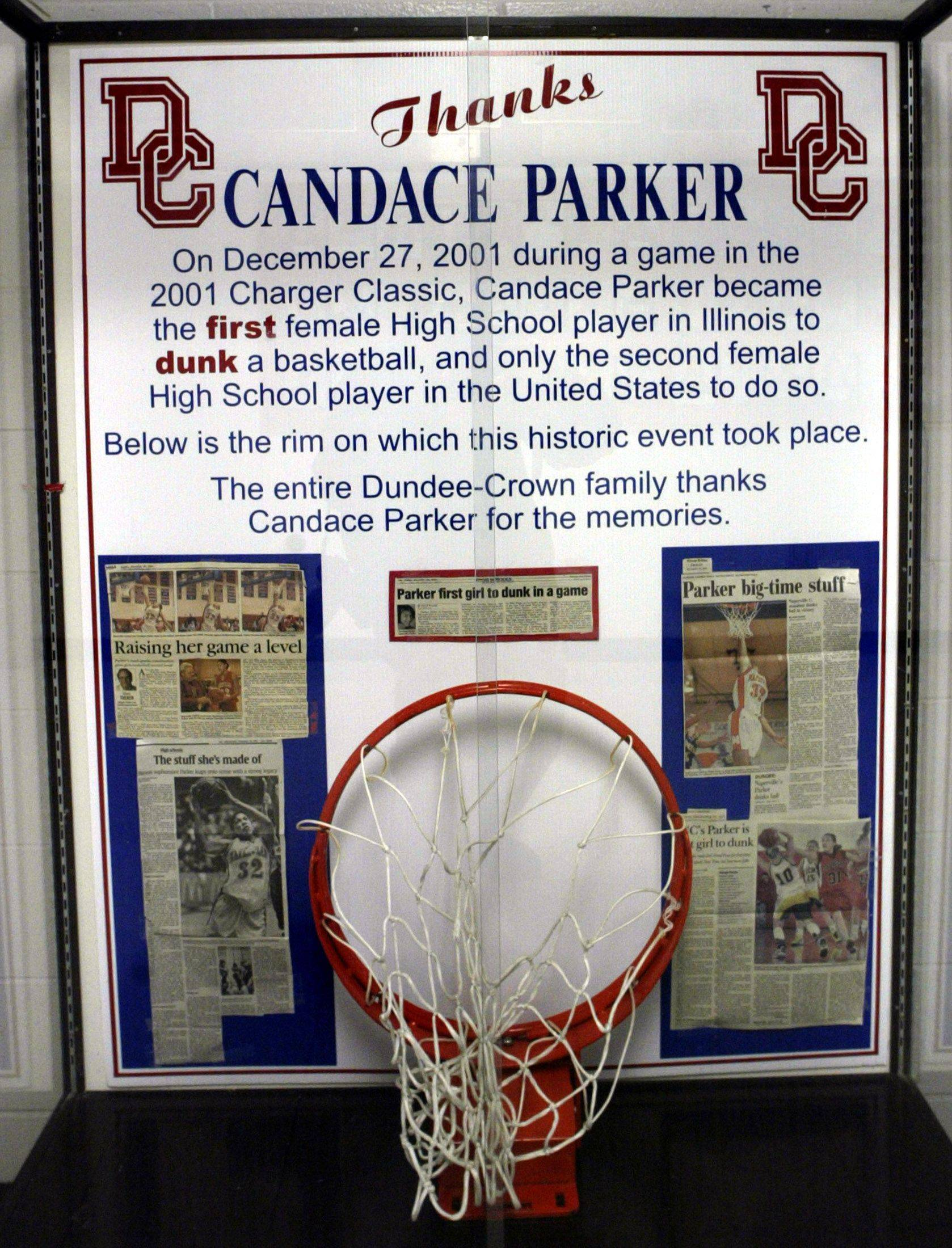 A shrine to Candace Parker of Naperville Central, set up in the hallway as part of the Charger Classic Christmas Tourney in Carpentersville, 2003.
