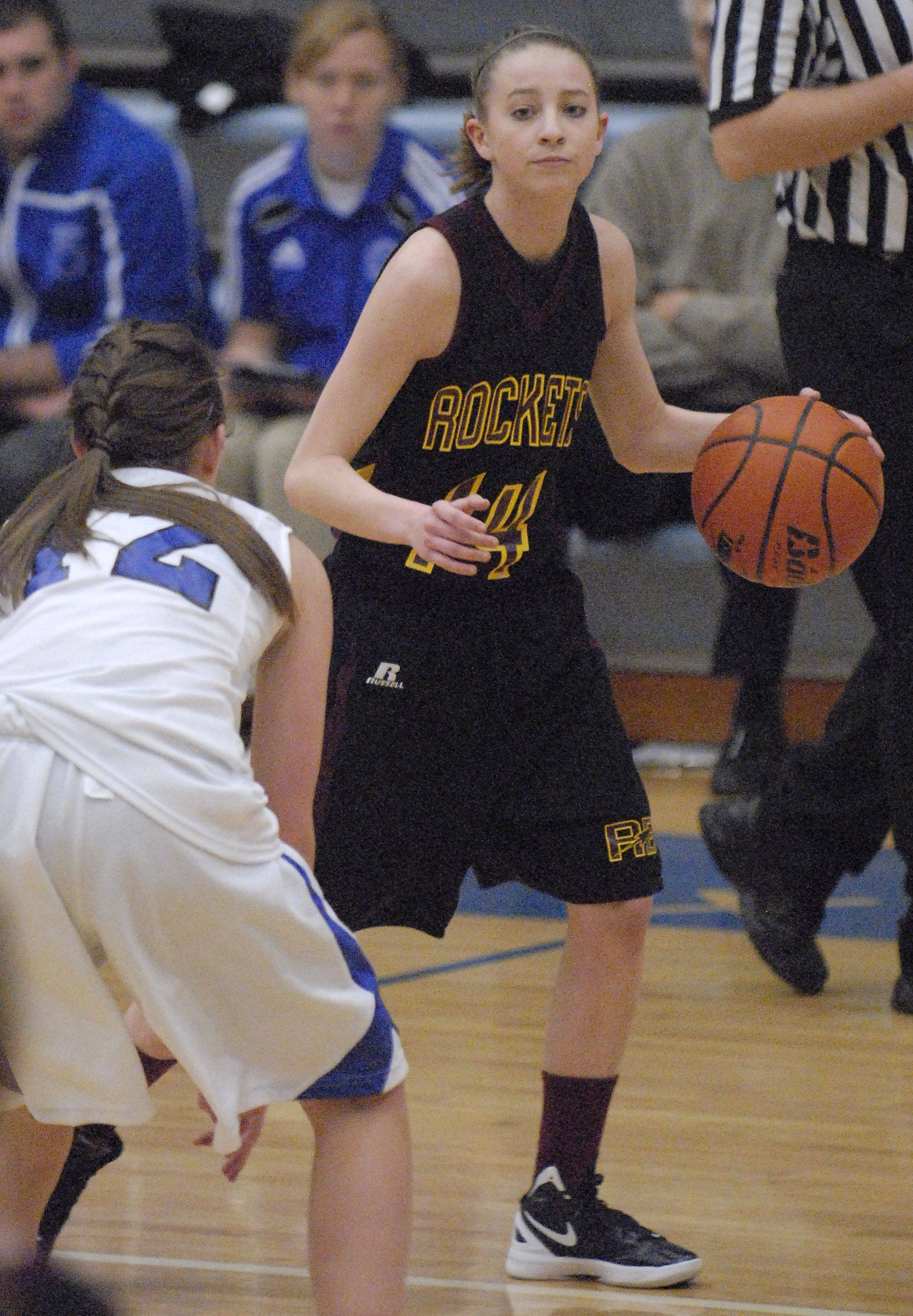 Burlington Central's Catherine Kaynish is ready for the next move by Richmond-Burton's Erin Thomas in the third quarter on Saturday.