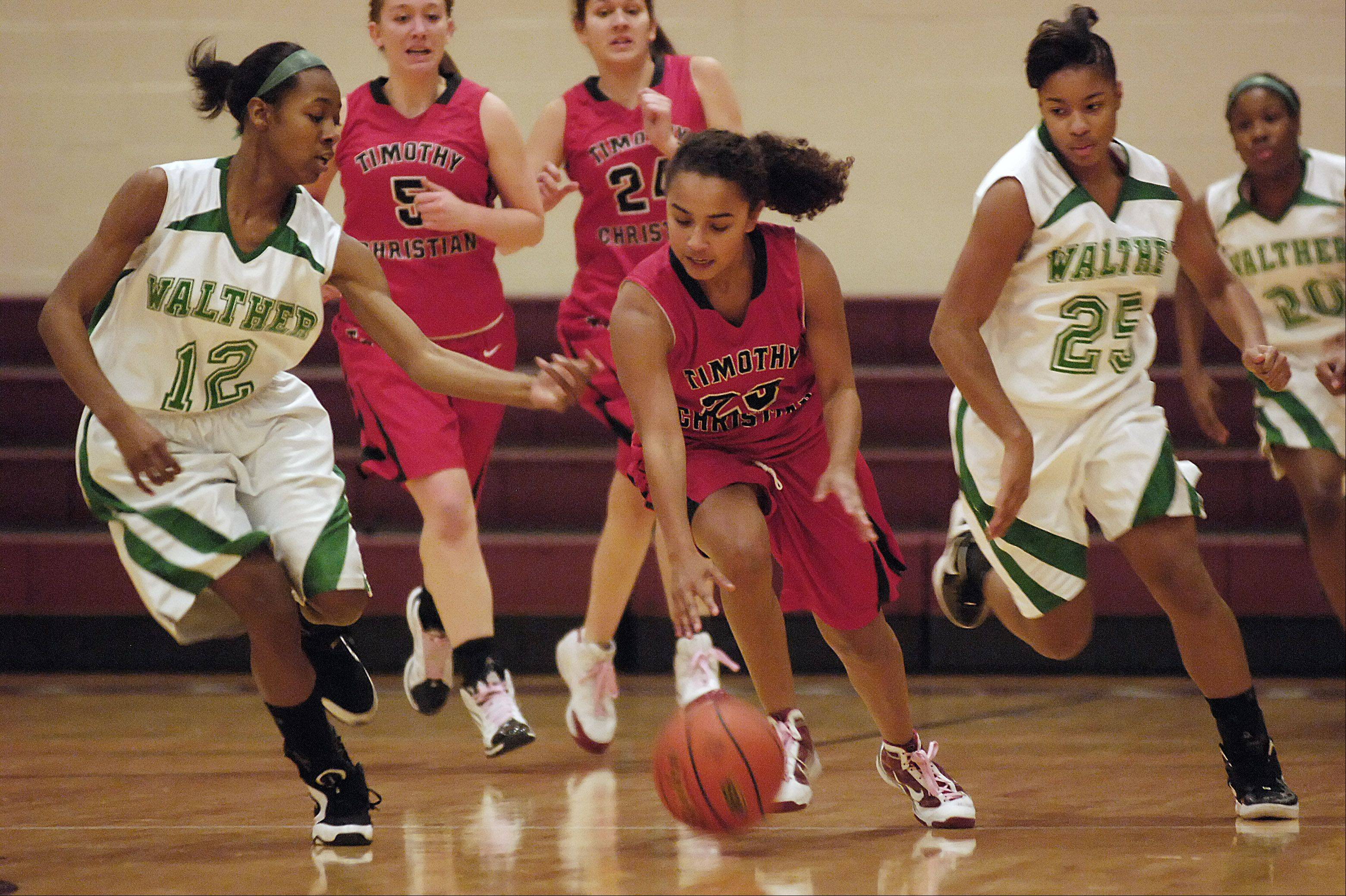 Timothy Christian vs. Walther Lutheran girls basketball regional final Thursday at Wheaton Academy in West Chicago.
