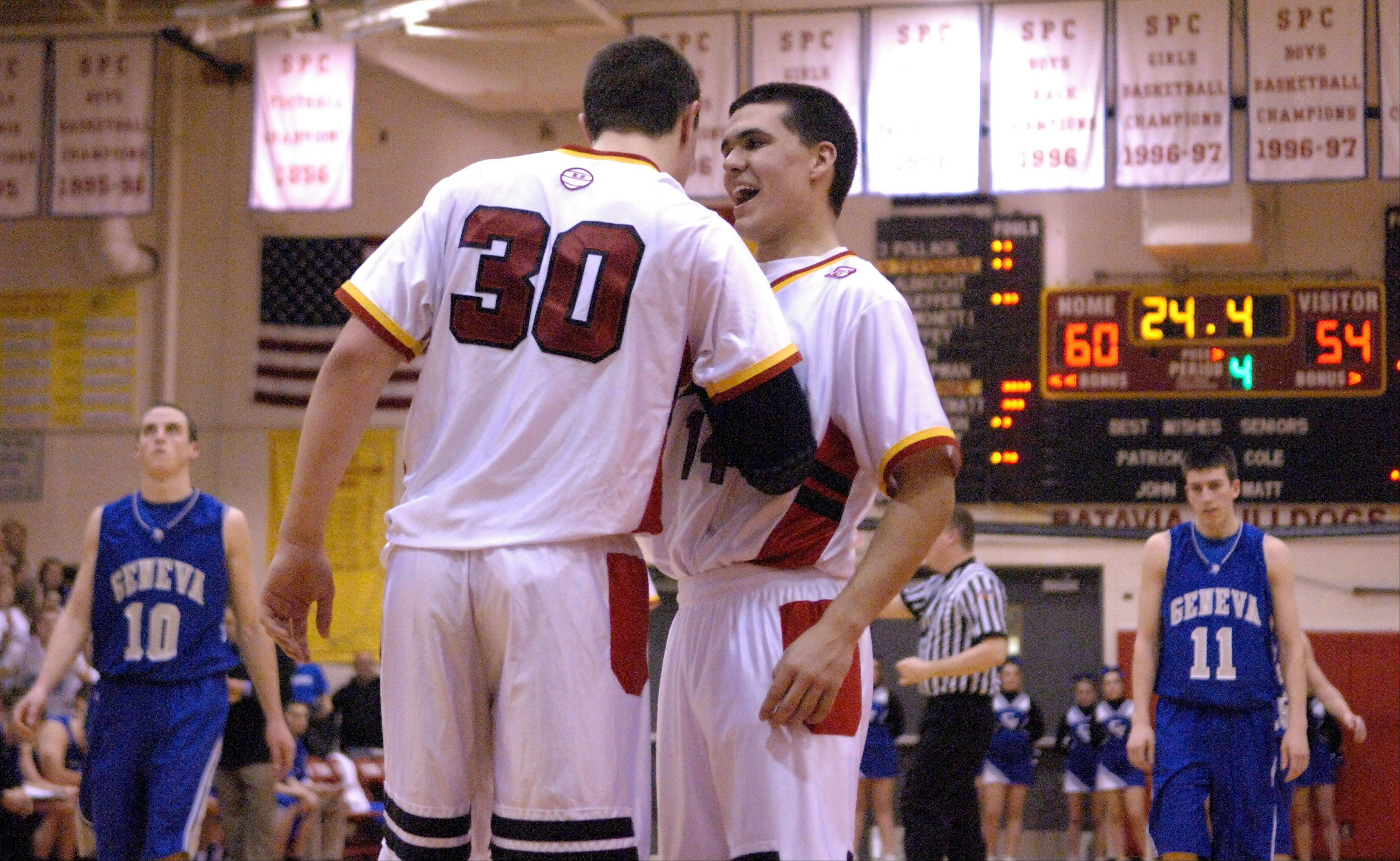 Batavia's Micah Coffey, right, and Cole Gardner get excited in the final thirty seconds of their win over Geneva.