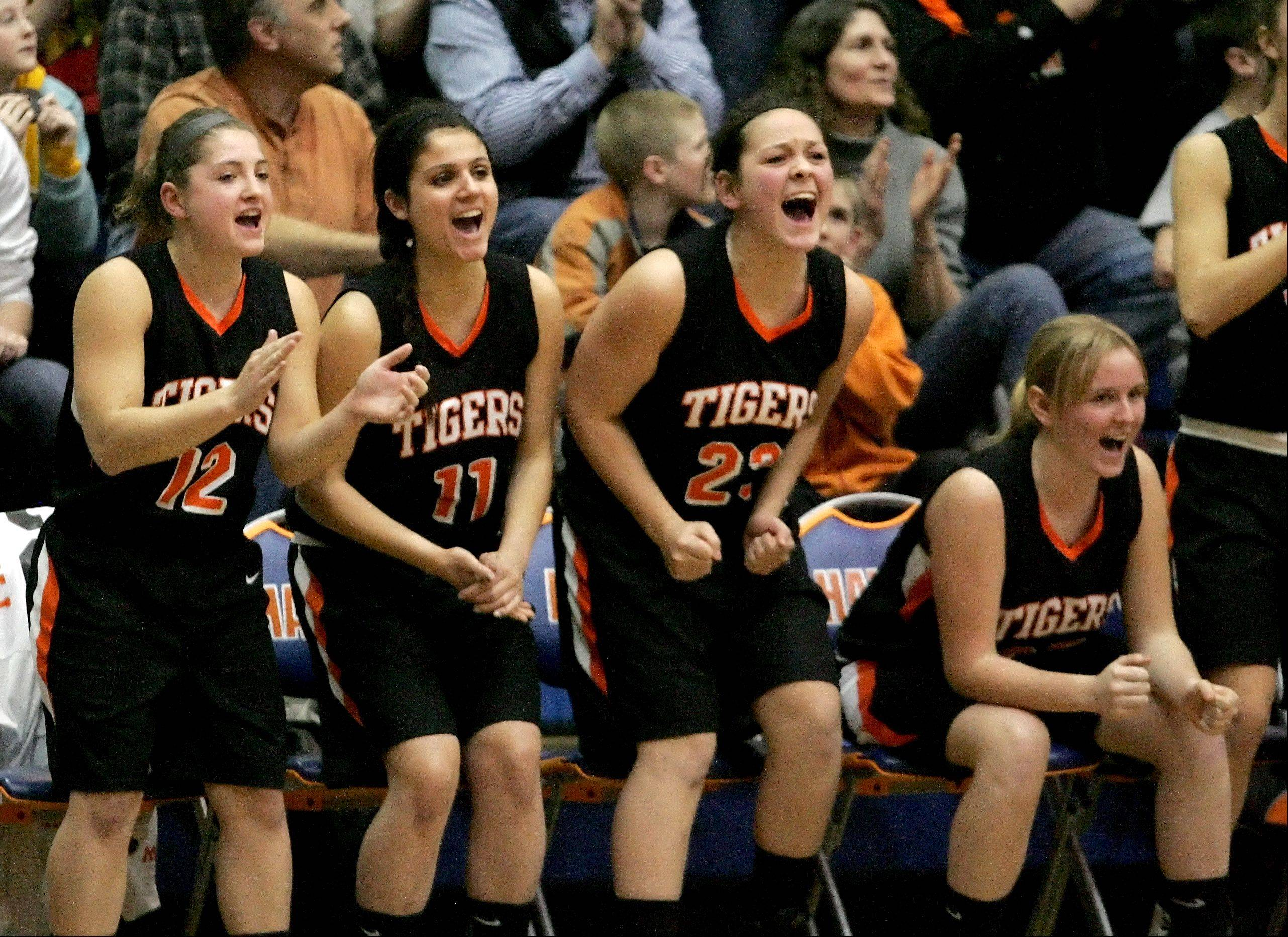 Players on the Wheaton Warrenville South bench react .