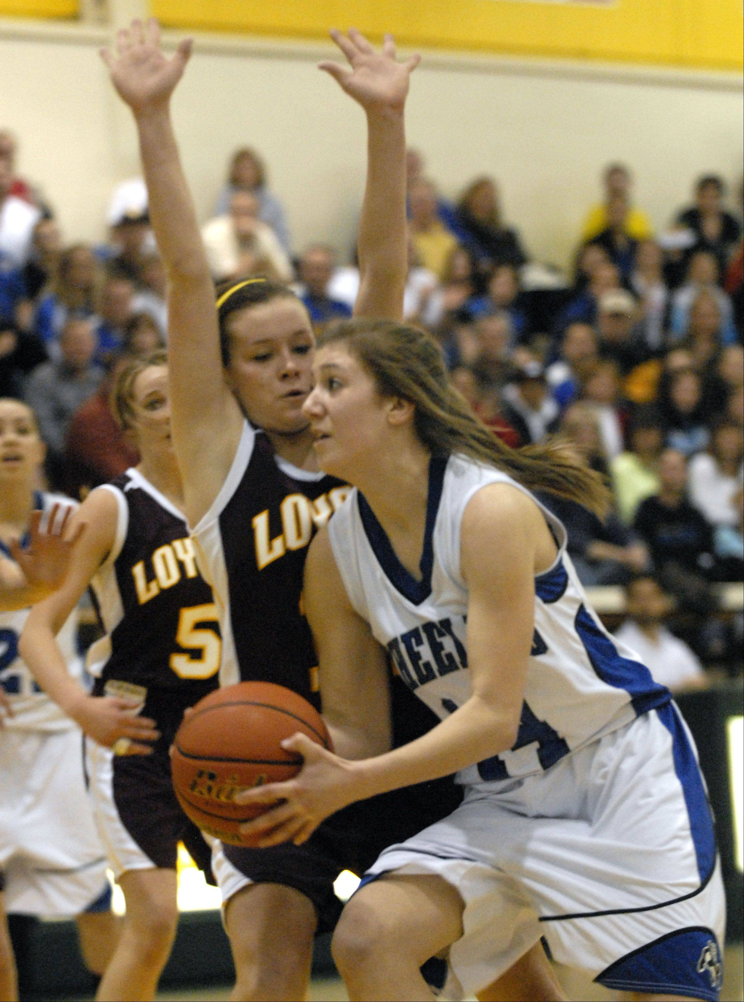 Images from the Wheeling vs. Loyola girls 4A supersectional basketball game at Stevenson high school Monday, February 27th.
