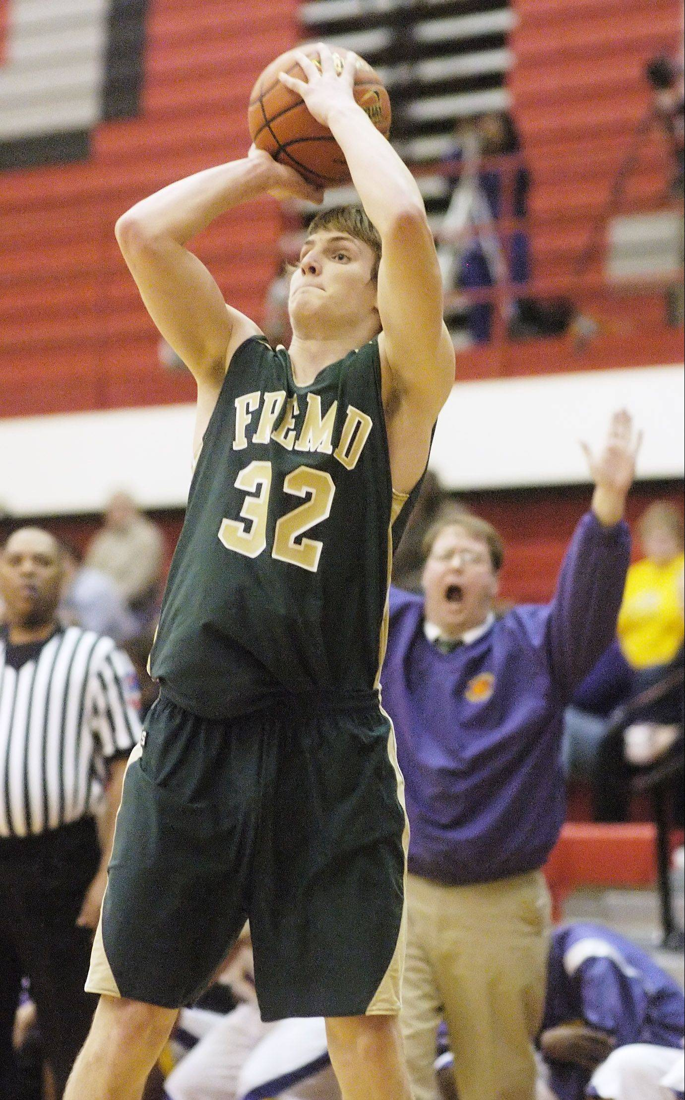 Fremd's Nate Serviss takes a shot against Waukegan.