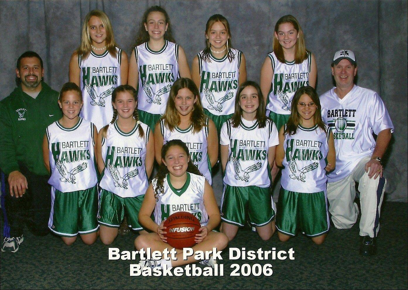 Five of Bartlett's eight seniors have played travel basketball together since sixth grade. They include Haley Videckis, top left, Katie Gutzwiller (next to Videckis), Ashley Johnson, middle left, Lisa Palmer, middle center, and Nicols Gobbo (next to Palmer).