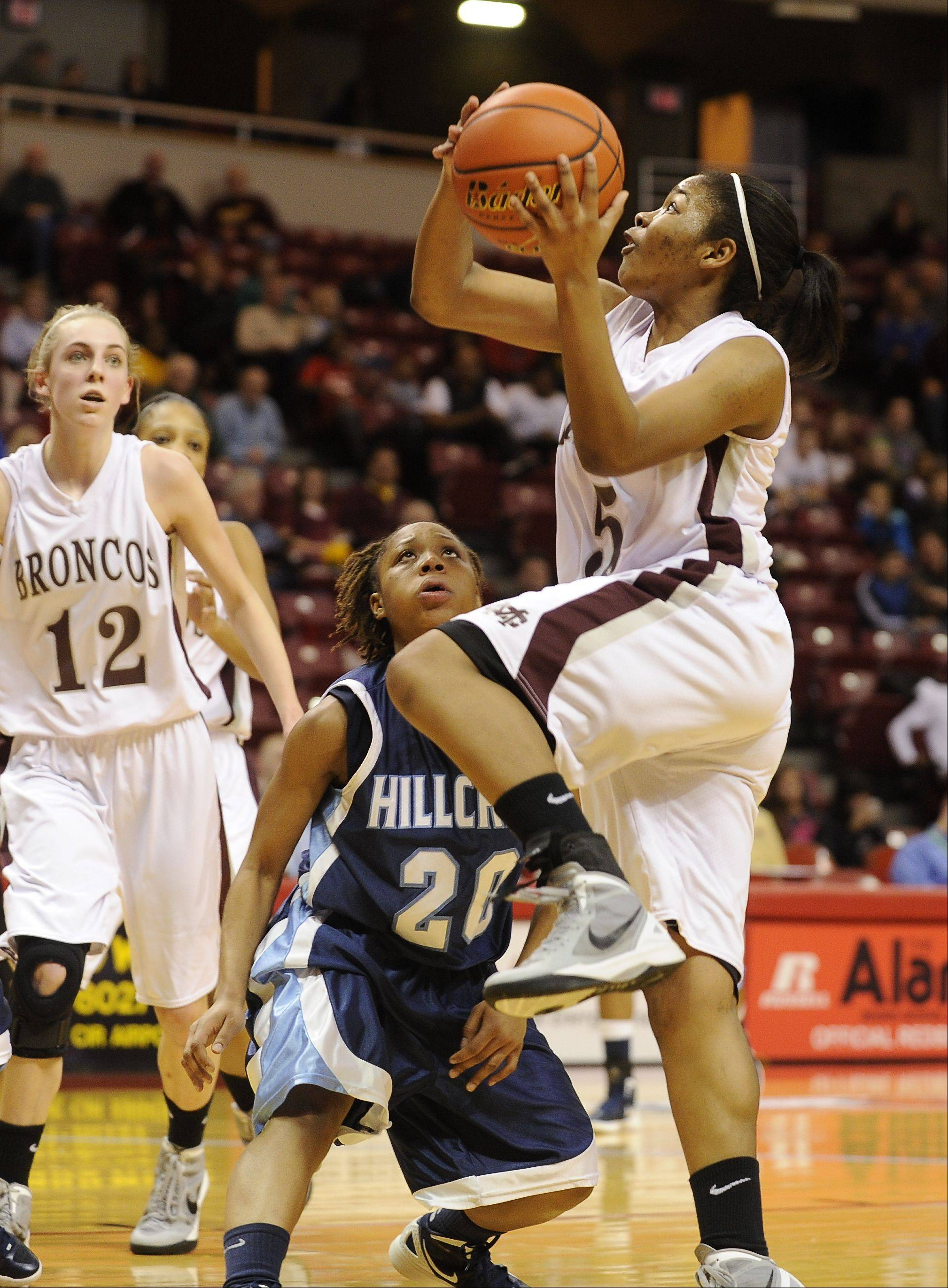 Montini vs. Hillcrest in Class 3A state girls basketball semifinals in Normal, IL at Illinois State University.
