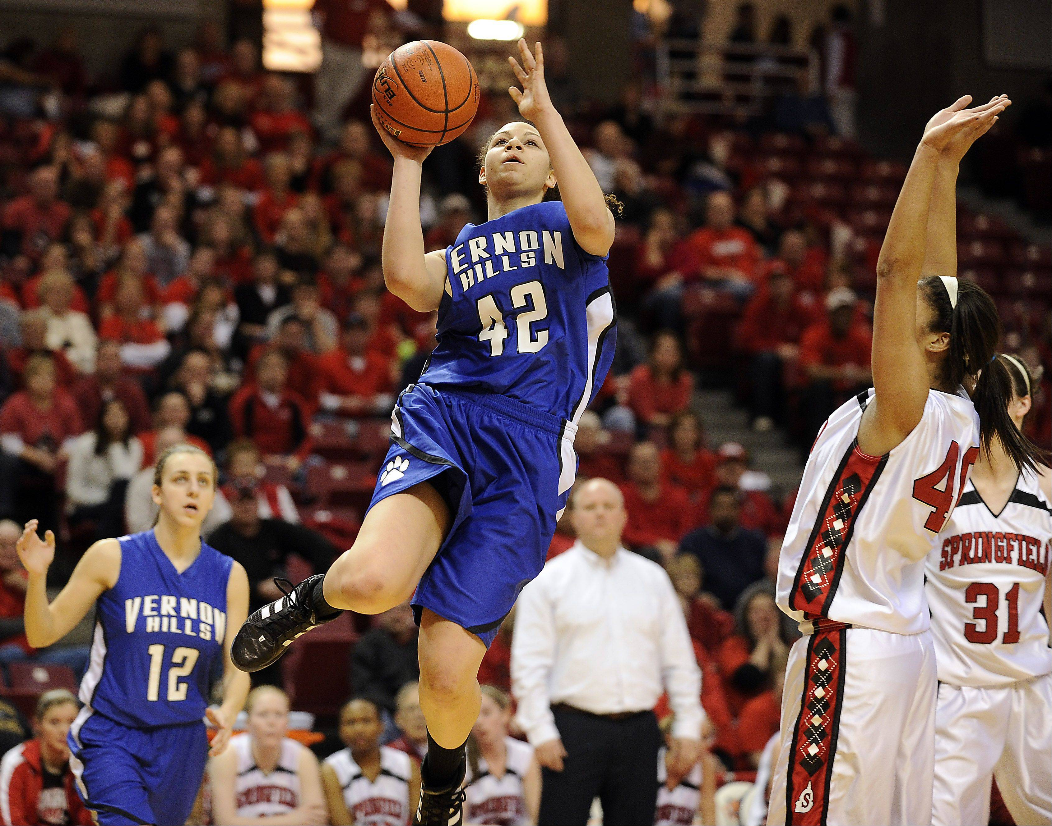 Vernon Hills' Lauren Webb flies solo in the second quarter of play for the bucket in the 2012 IHSA Class 3A girls basketball tournament in Normal, Illinois on Friday.