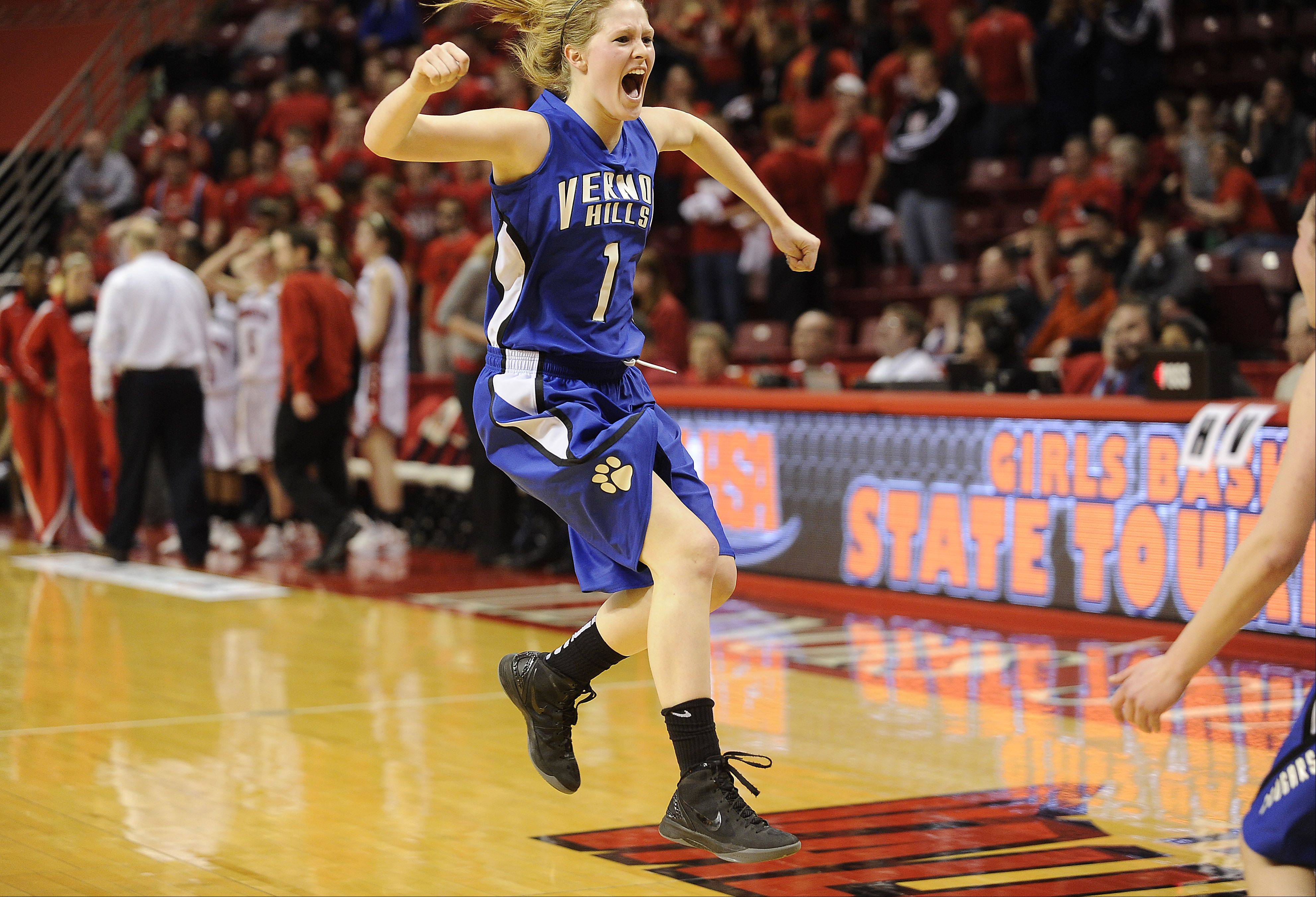 Vernon Hills' Sydney Smith jumps for joy in their victory over Springfield in the fourth quarter of play in the 2012 IHSA Class 3A girls basketball tournament in Normal, Illinois on Friday.