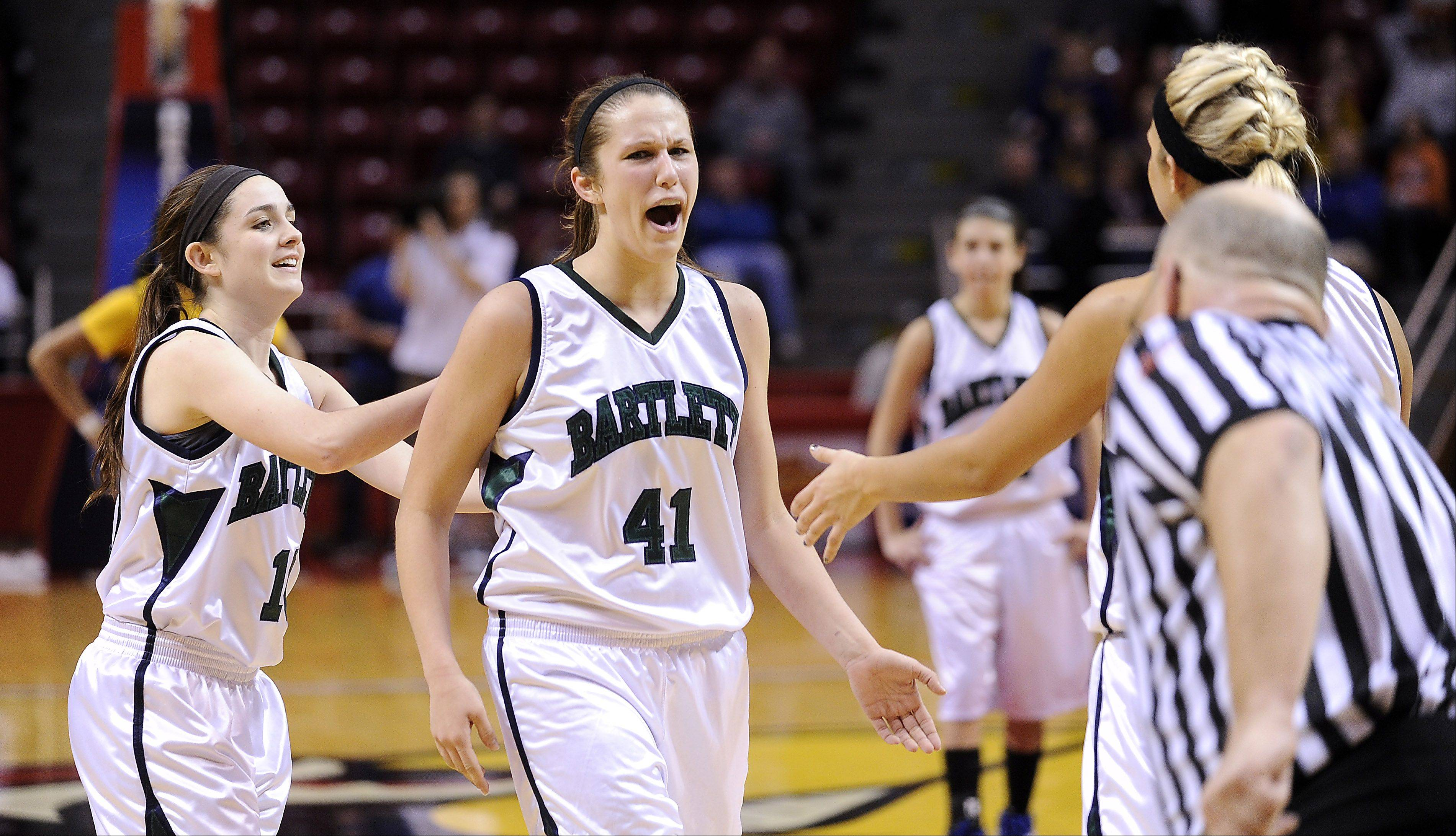 Mark Welsh/mwelsh@dailyherald.comBartlett's Lisa Palmer is pumped after sinking a free throw in overtime to put Bartlett ahead against Loyola Academy in the Class 4A third-place game Saturday at Redbird Arena.