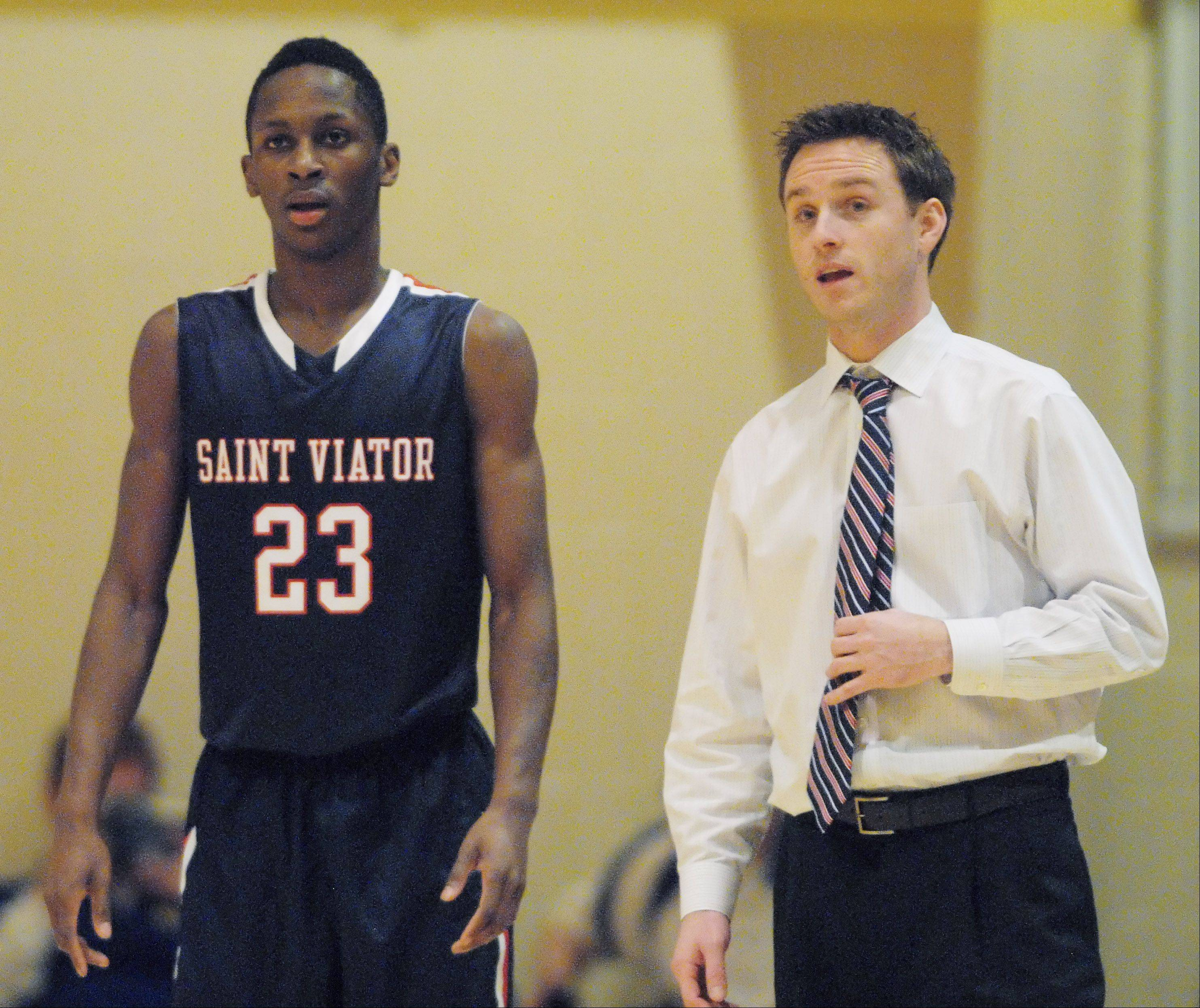 Sophomore Ore Arogundade helped make it a memorable first year for Mike Howland as a head coach at St. Viator. Howland was chosen as an Illinois Basketball Coaches Association and East Suburban Catholic Conference coach of the year.
