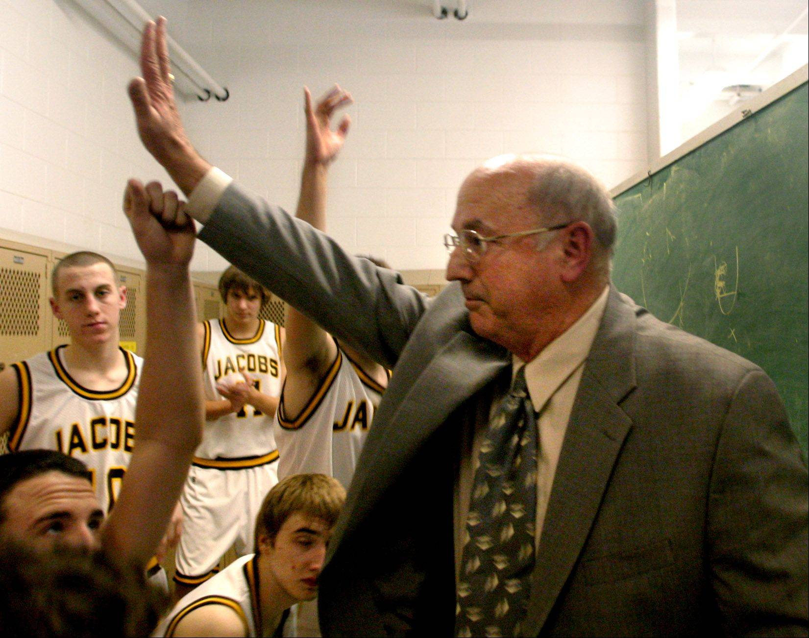 Jacobs coach Jim Hinkle celebrates his 300th win in the locker room with his team in December, 2003.