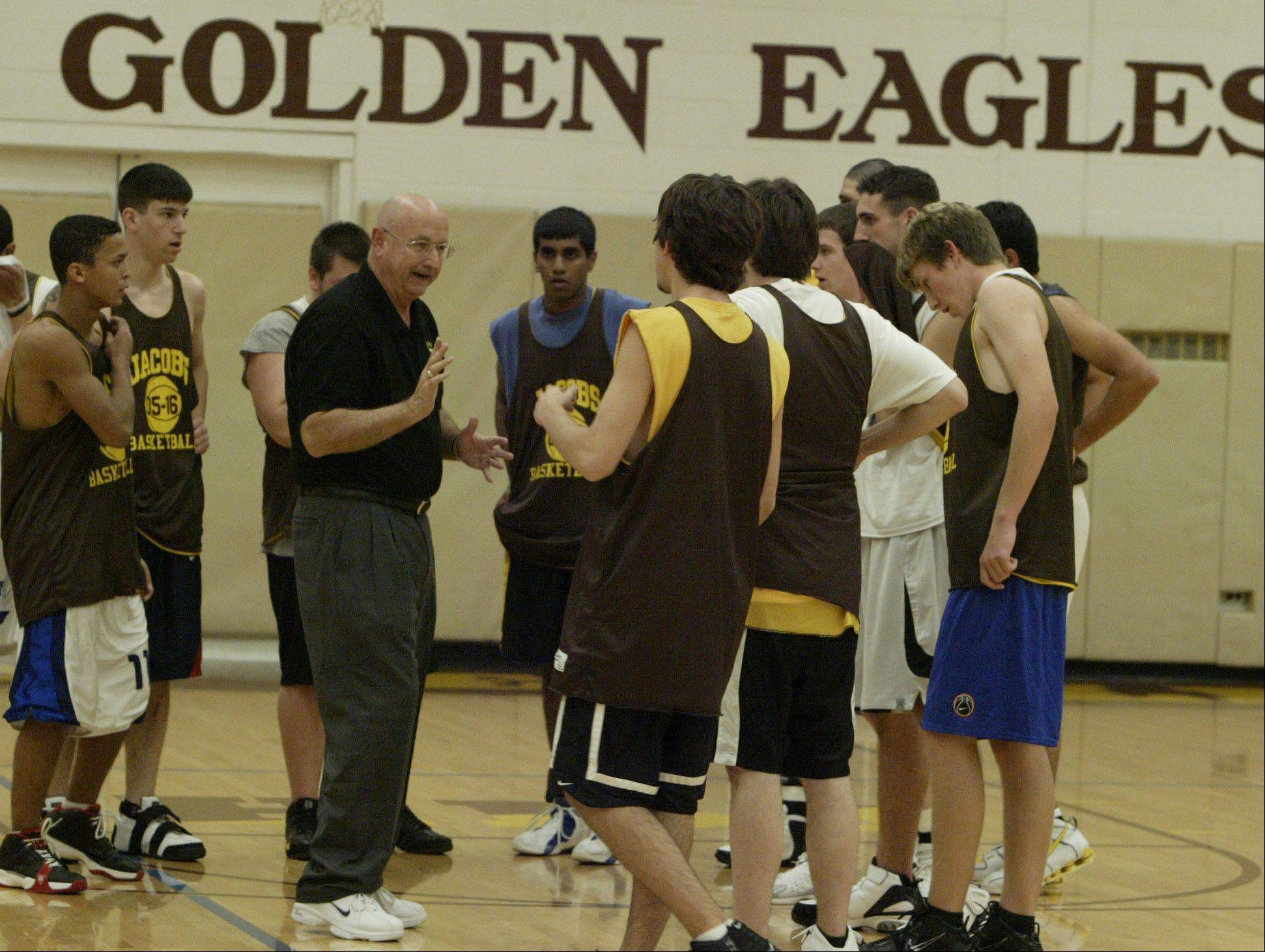 Jacobs boys basketball coach Jim Hinkle instructs his team during practice.