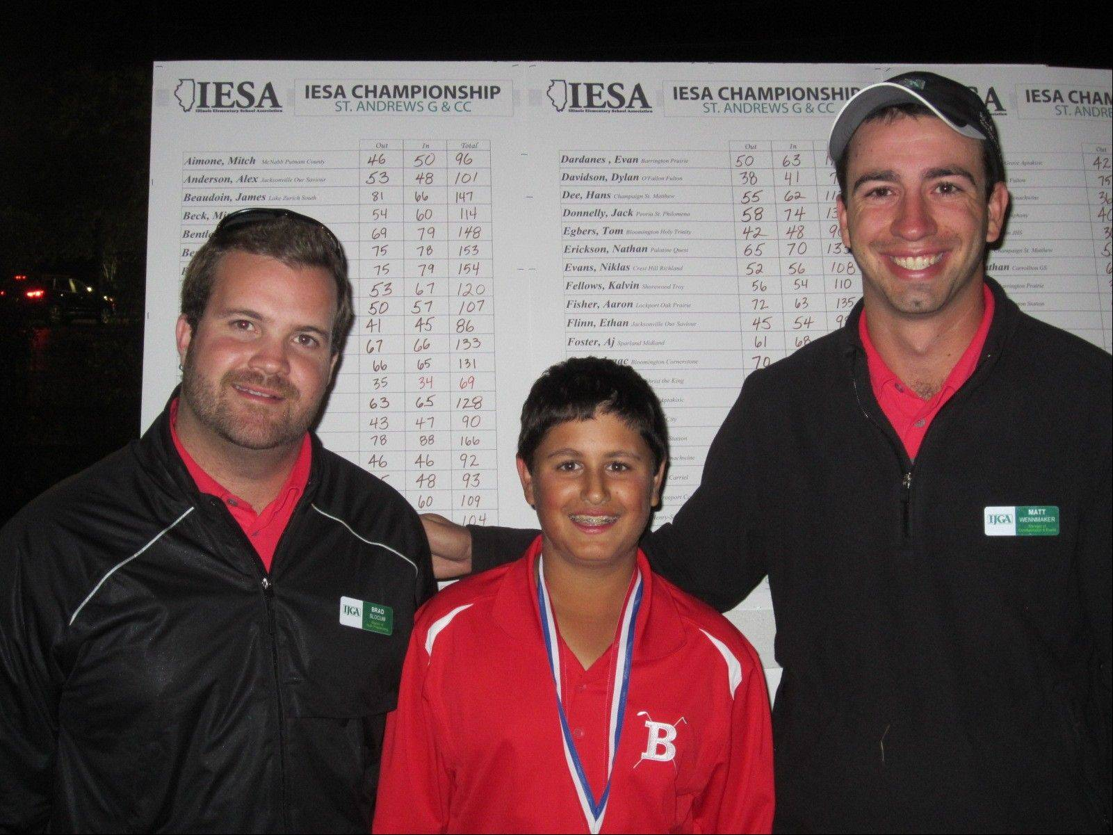 Tom Calbi of Barrington Prairie Middle School won the 2012 Illinois State Elementary School Association state golf championship for the second straight year on Saturday. Here he's flanked by IJGA tournament directors Brad Slocum, left, and Matt Wennmaker.