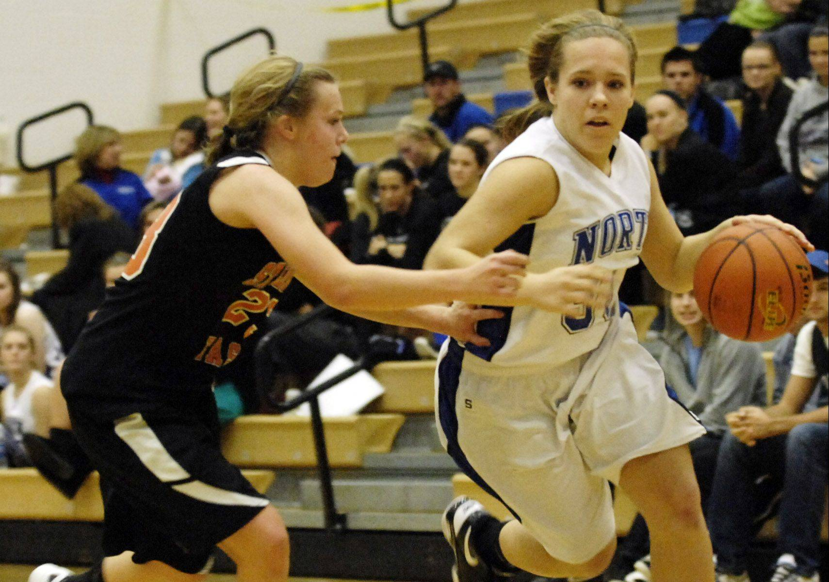 St. Charles North's Ava Tarka is one of the players coach Colleen Backer is counting on to help with ballhandling and pressure defense.