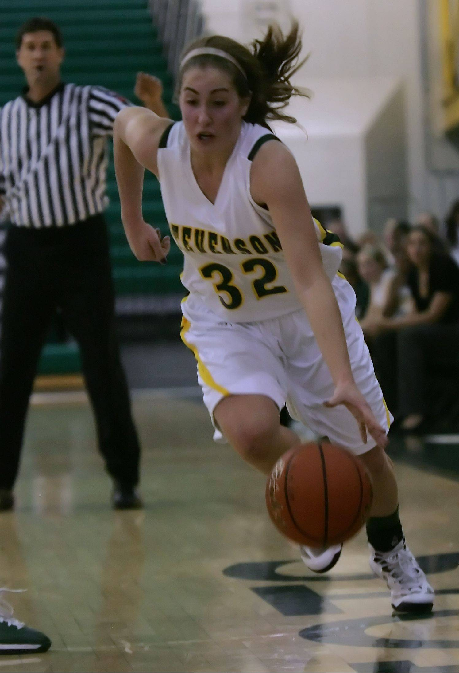 Stevenson player Sophia Way drives the ball to the hoop in the second quarter at Stevenson on Thursday.