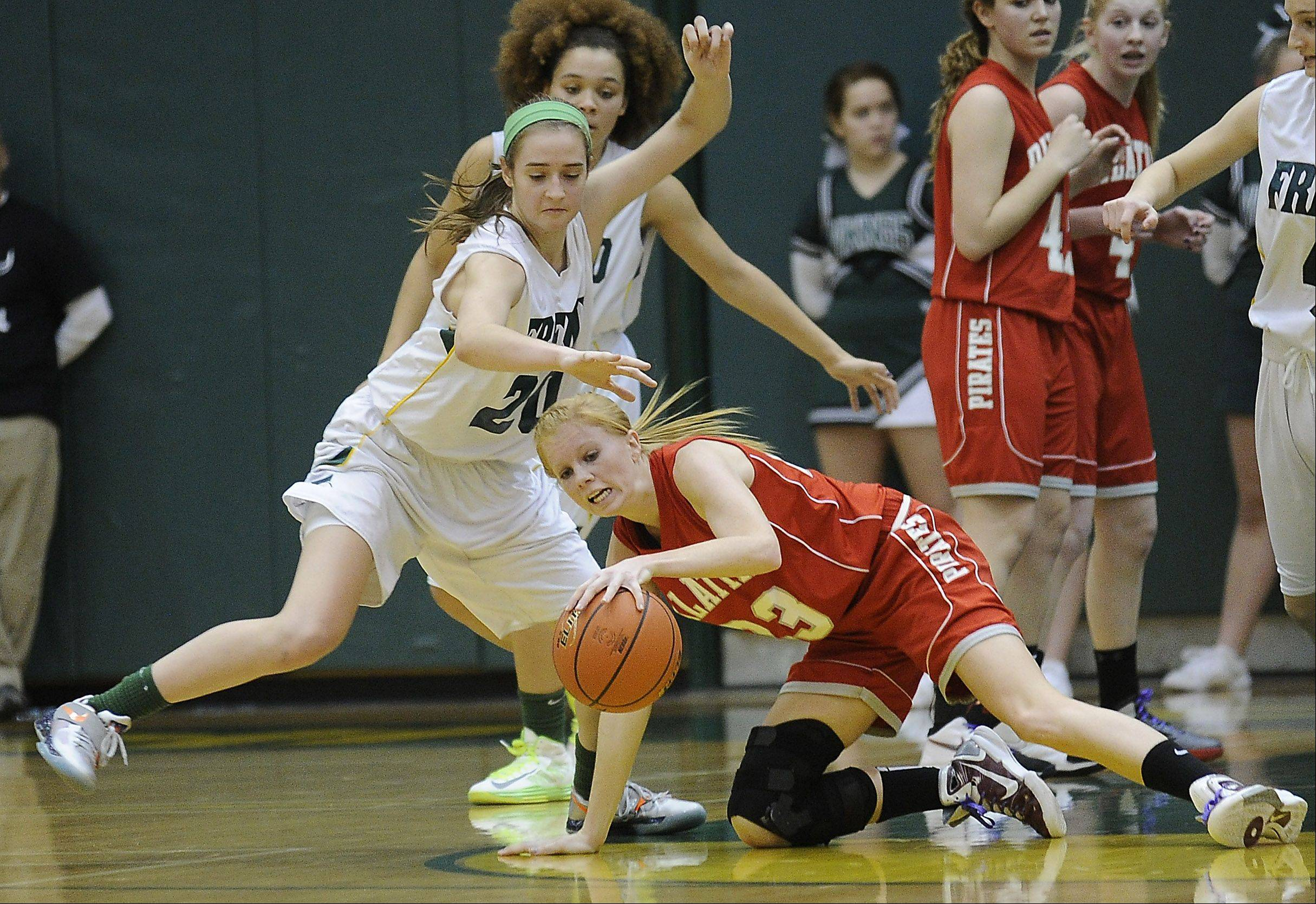 Palatine's McKenzie Wiedemann tries to control the ball under pressure against Fremd.