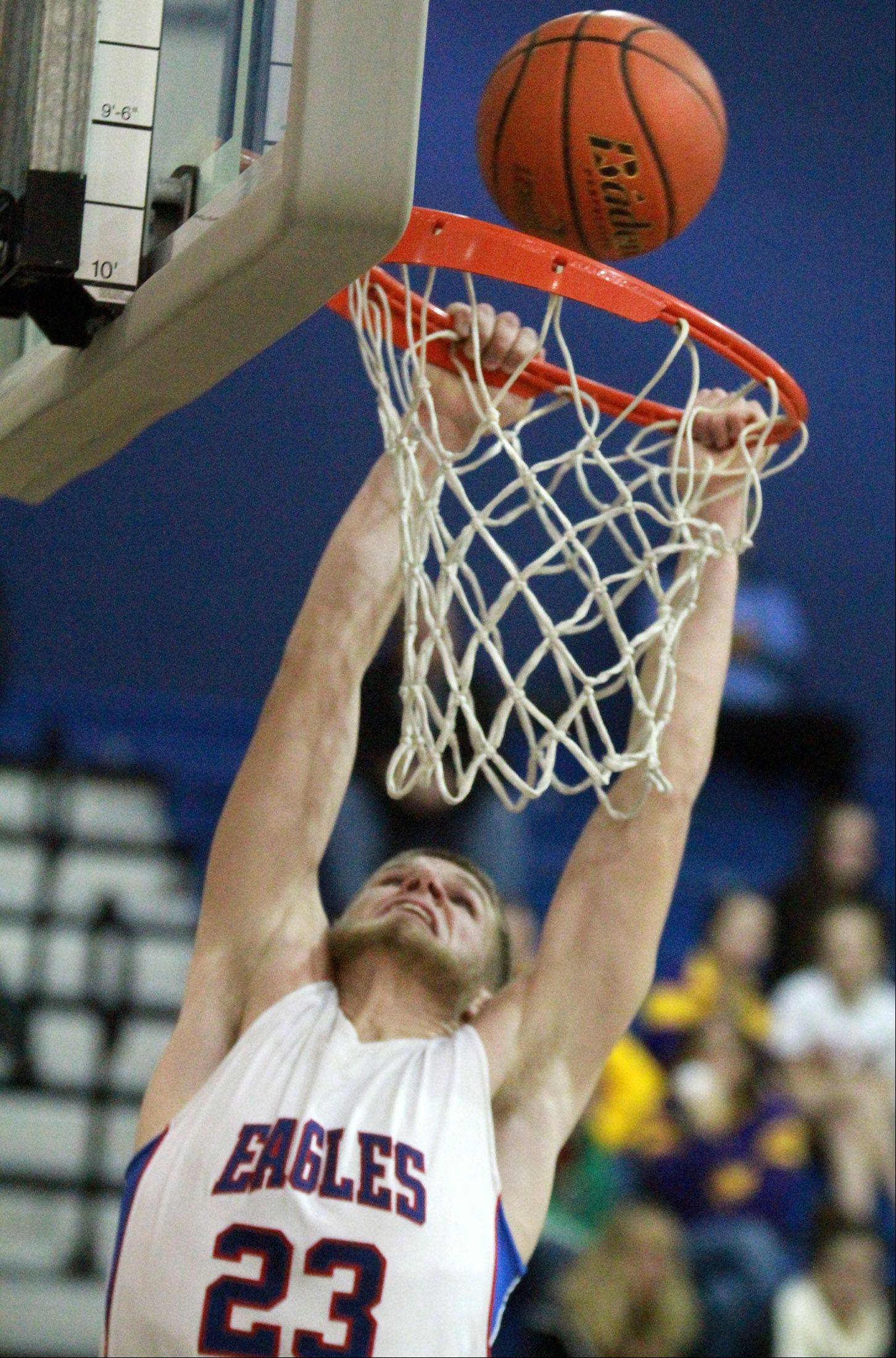 Lakes Jake Kohler attempts a breakaway dunk against Wauconda.