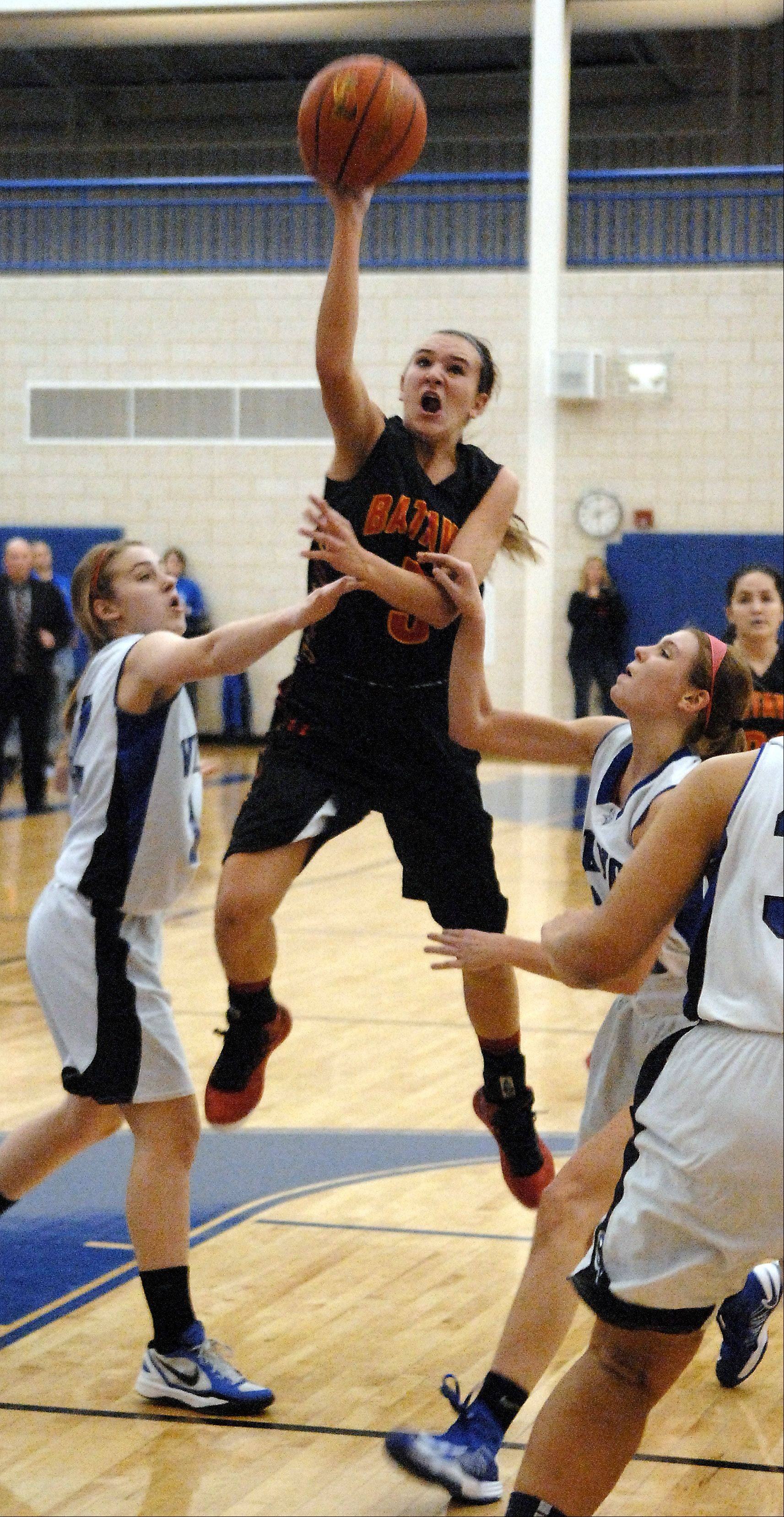 Batavia's Liza Fruendt takes a floater against Geneva.