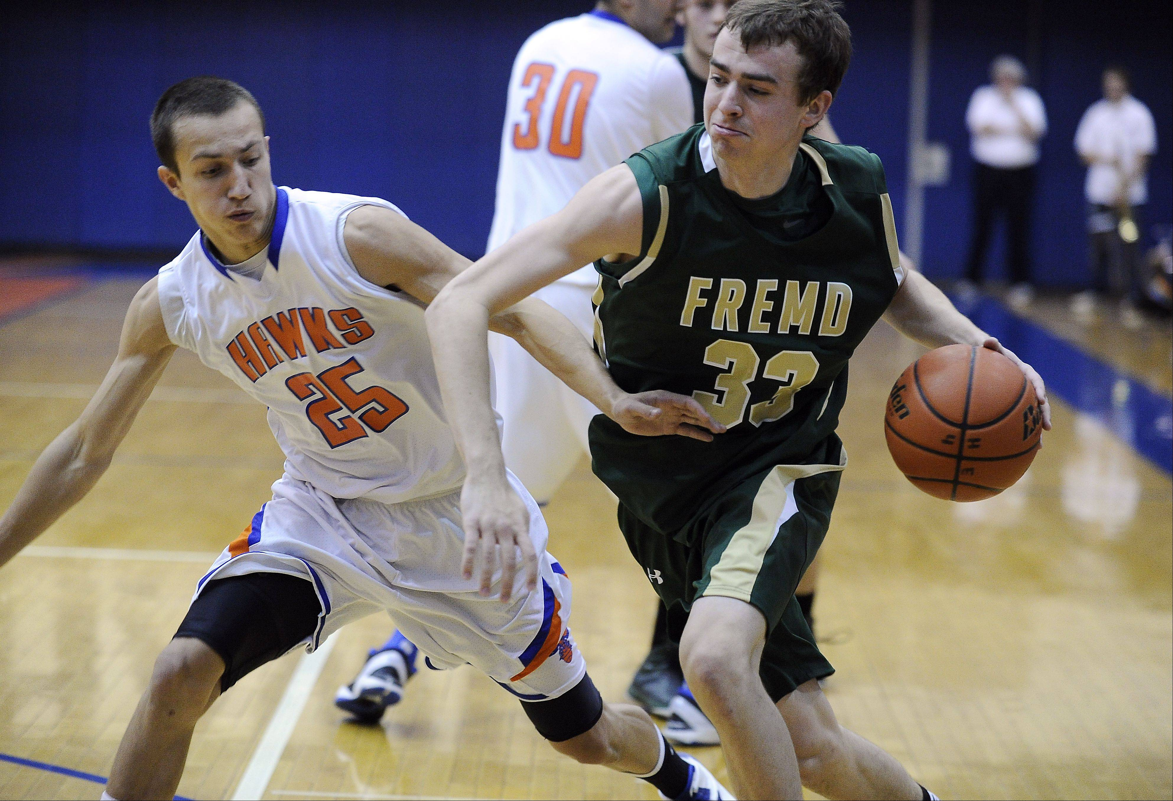 Fremd's Sean Benka drives around Hoffman's Jimmy Ward in the third quarter Thursday at Hoffman Estates.