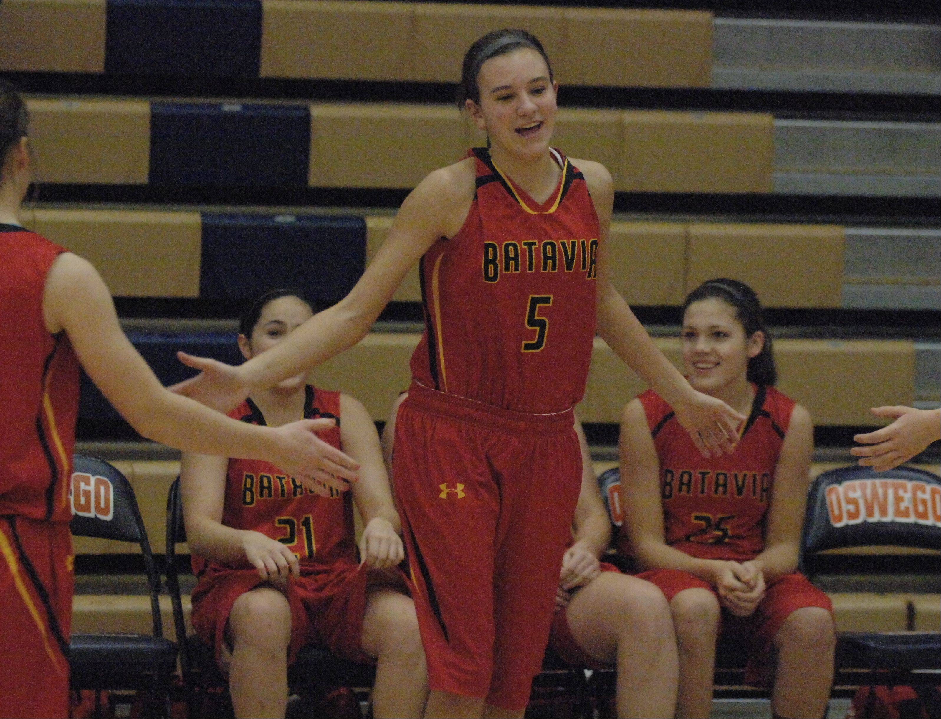 Liza Fruendt is introduced before Batavia's game Saturday.
