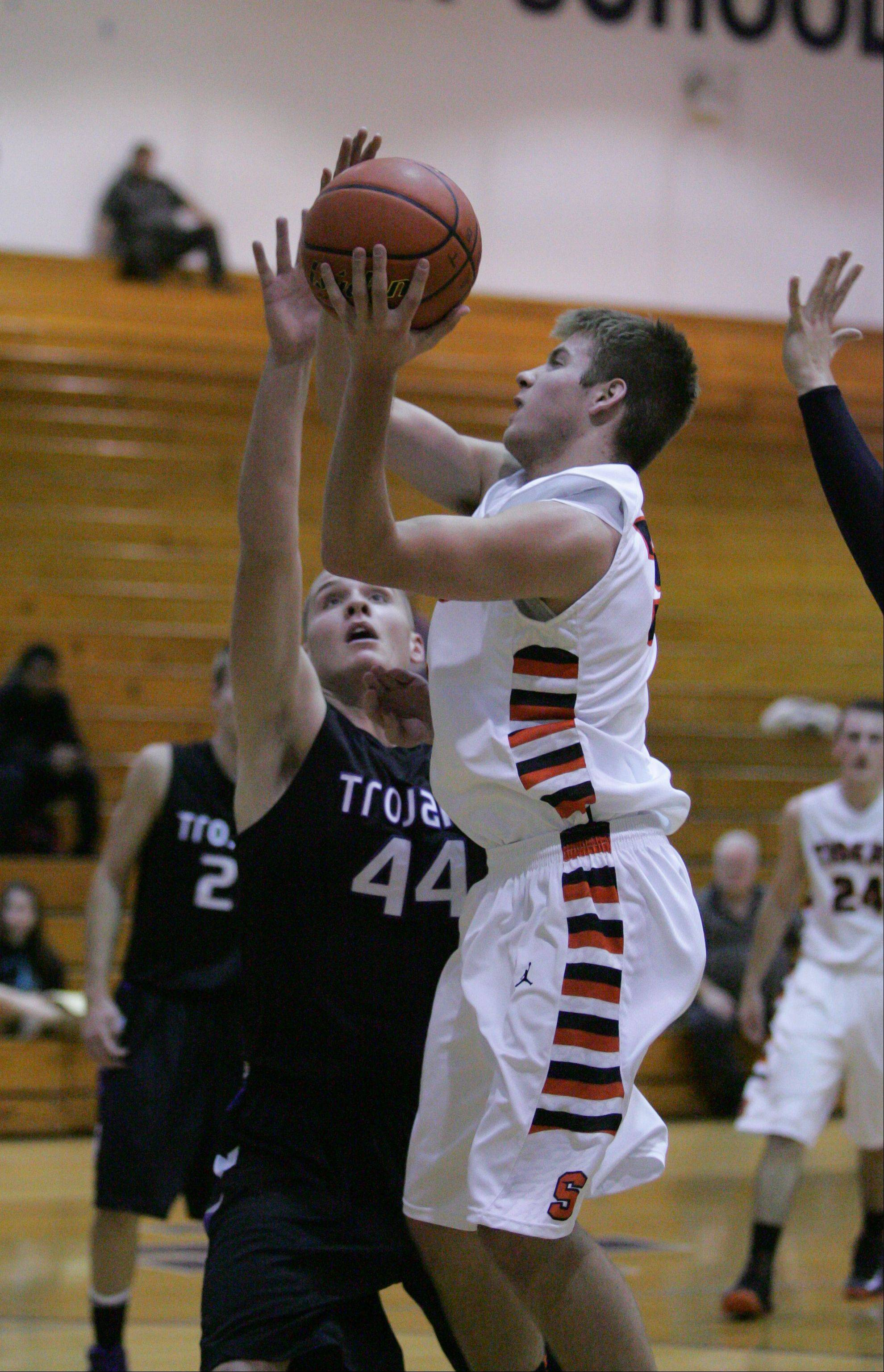Wheaton Warrenville South High School played Downers Grove North High School Tuesday night for boys basketball at Addison Trail High School in Addison.