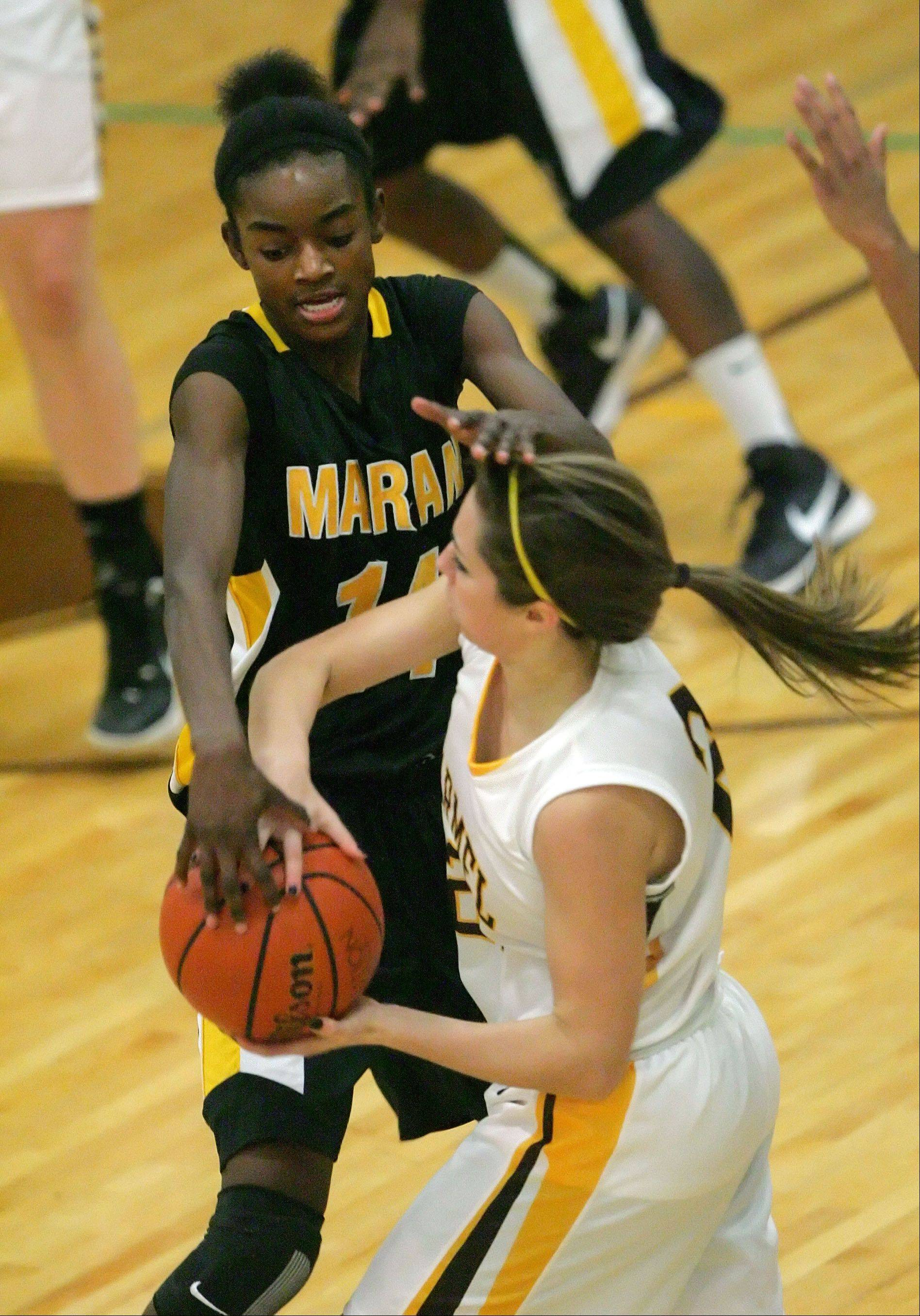 Images from the Marian Catholic at Carmel Catholic girls basketball game Wednesday, Dec. 12 in Mundelein.
