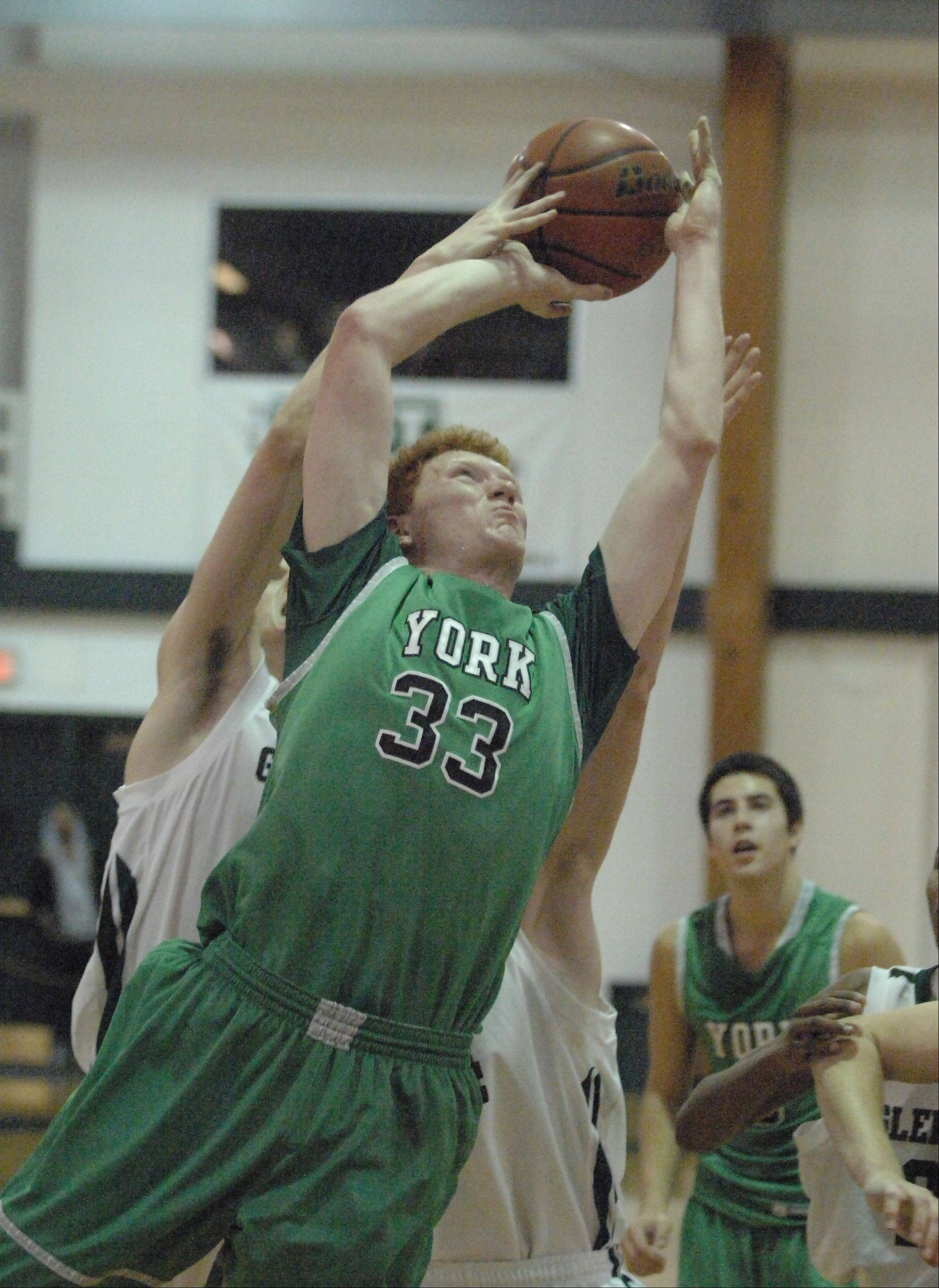 Frank Toohey of York takes a shot during the York at Glenbard West boys basketball game Friday.