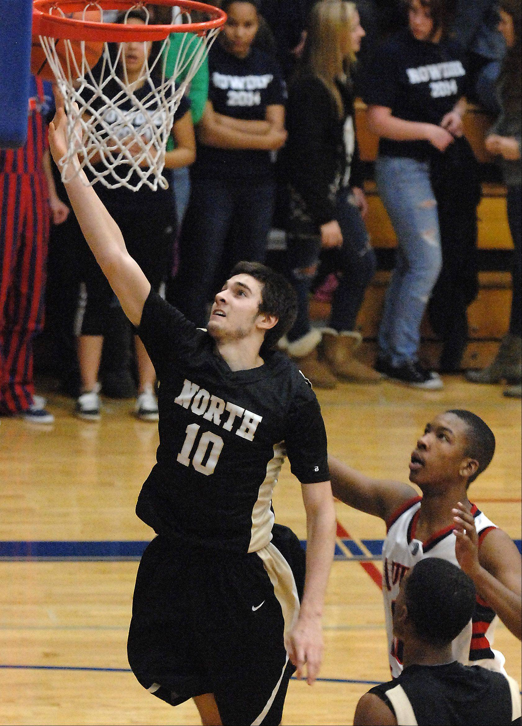 Glenbard North's Pasquale Fiduccia scores an easy layup against West Aurora during Friday's game at West Aurora.